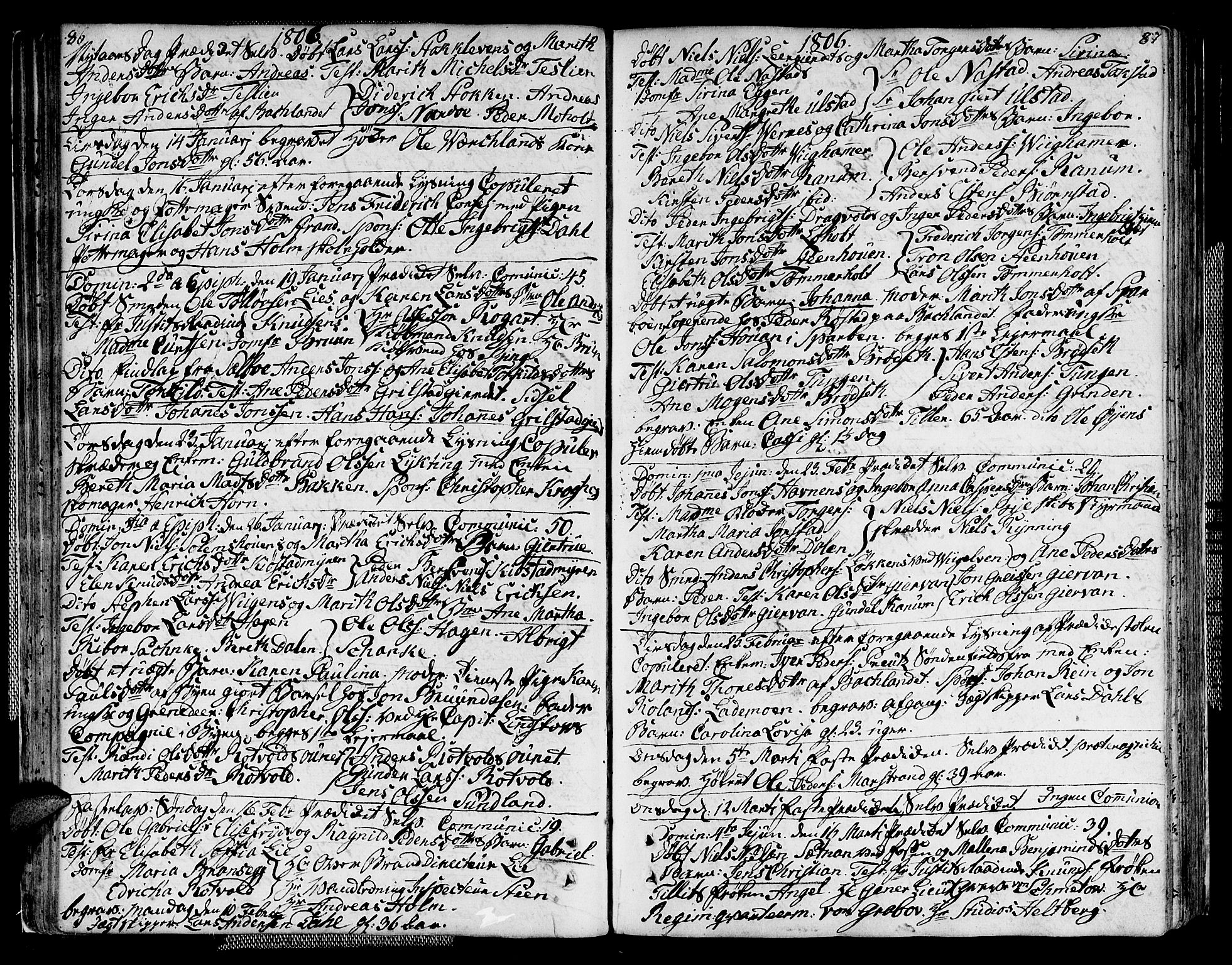 SAT, Ministerialprotokoller, klokkerbøker og fødselsregistre - Sør-Trøndelag, 604/L0181: Ministerialbok nr. 604A02, 1798-1817, s. 86-87