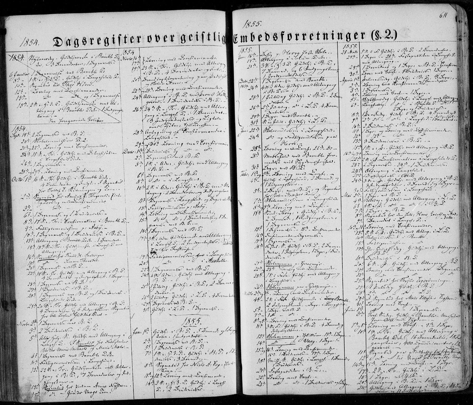 SAKO, Bamble kirkebøker, F/Fa/L0005: Ministerialbok nr. I 5, 1854-1869, s. 611