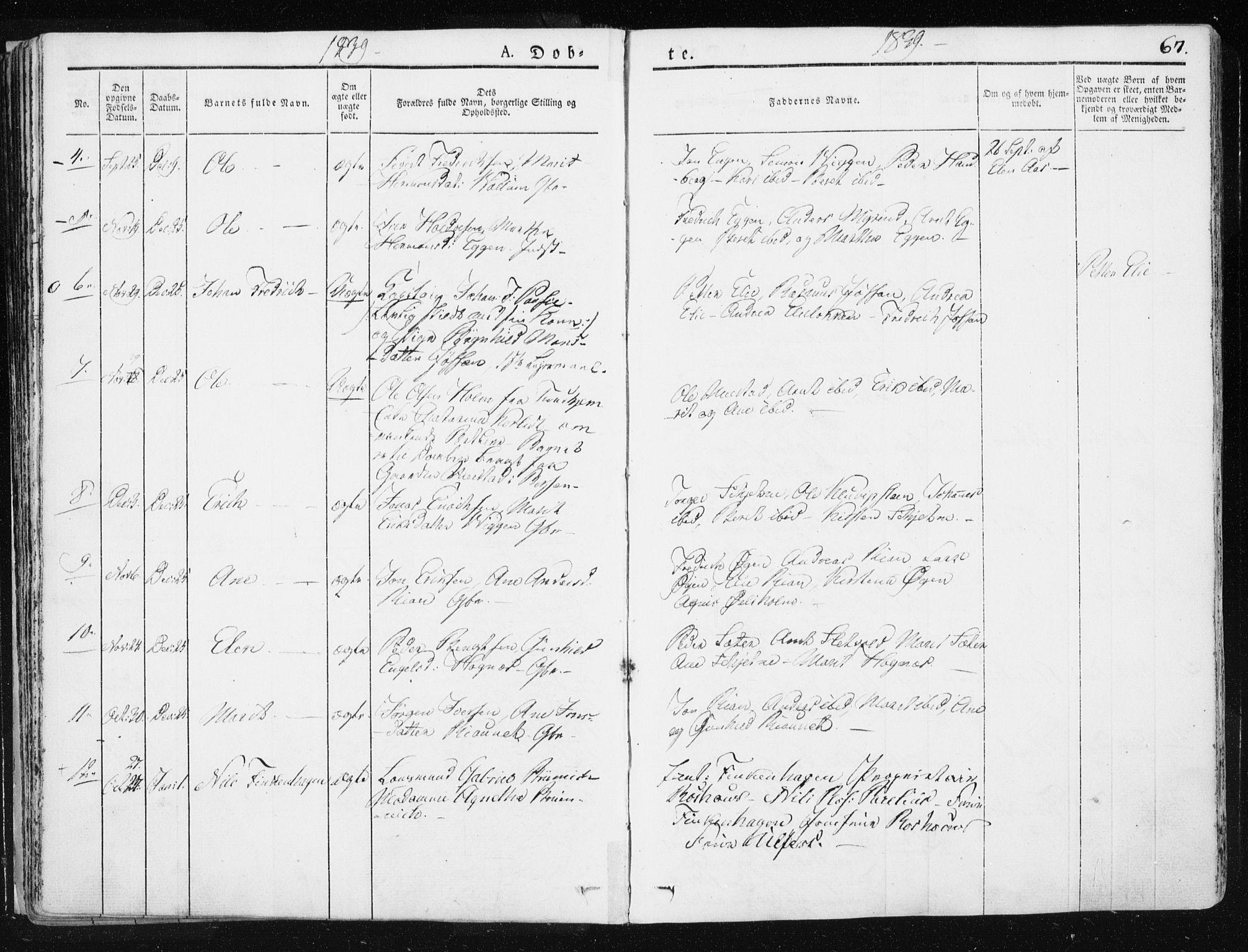 SAT, Ministerialprotokoller, klokkerbøker og fødselsregistre - Sør-Trøndelag, 665/L0771: Ministerialbok nr. 665A06, 1830-1856, s. 67