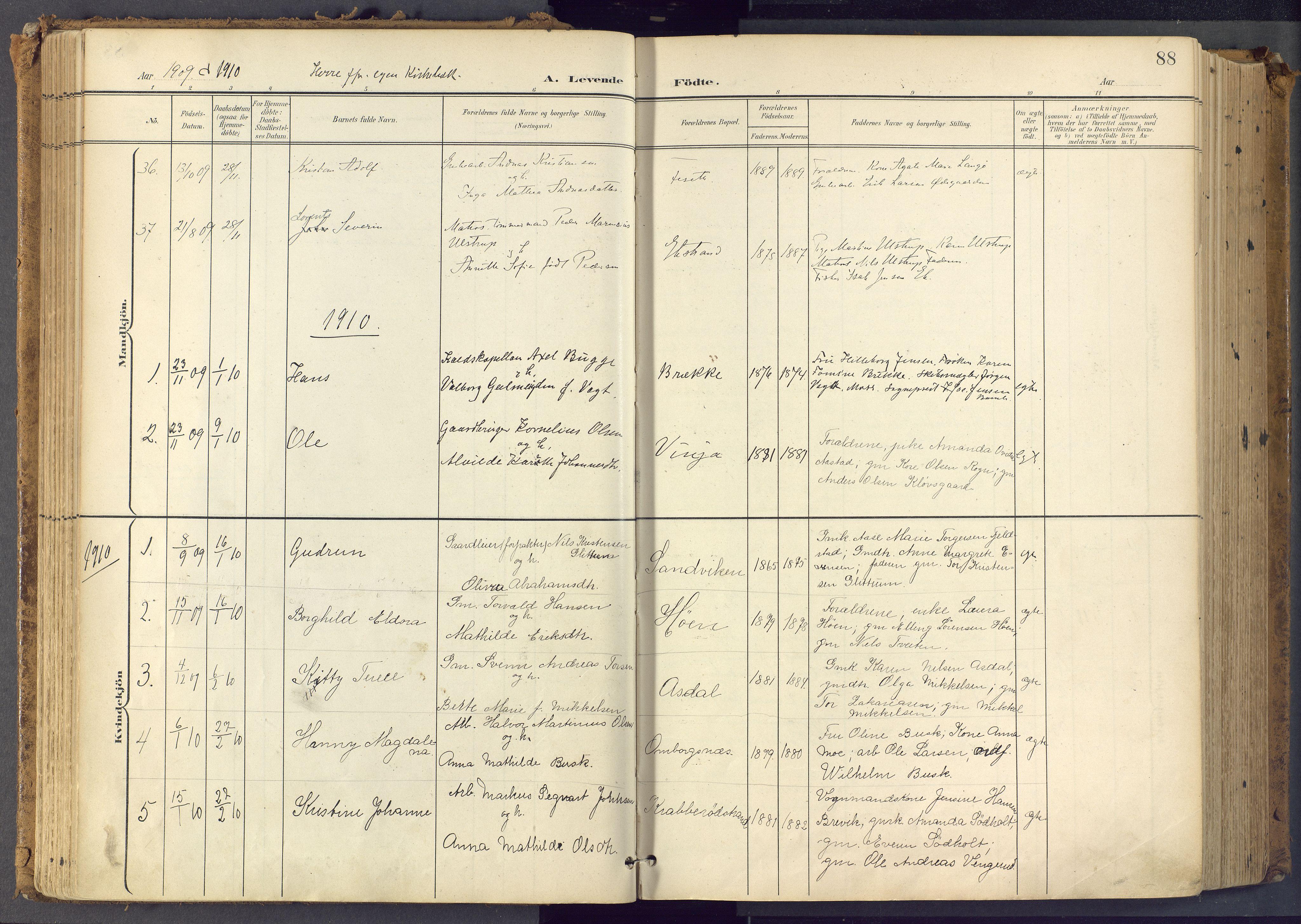SAKO, Bamble kirkebøker, F/Fa/L0009: Ministerialbok nr. I 9, 1901-1917, s. 88