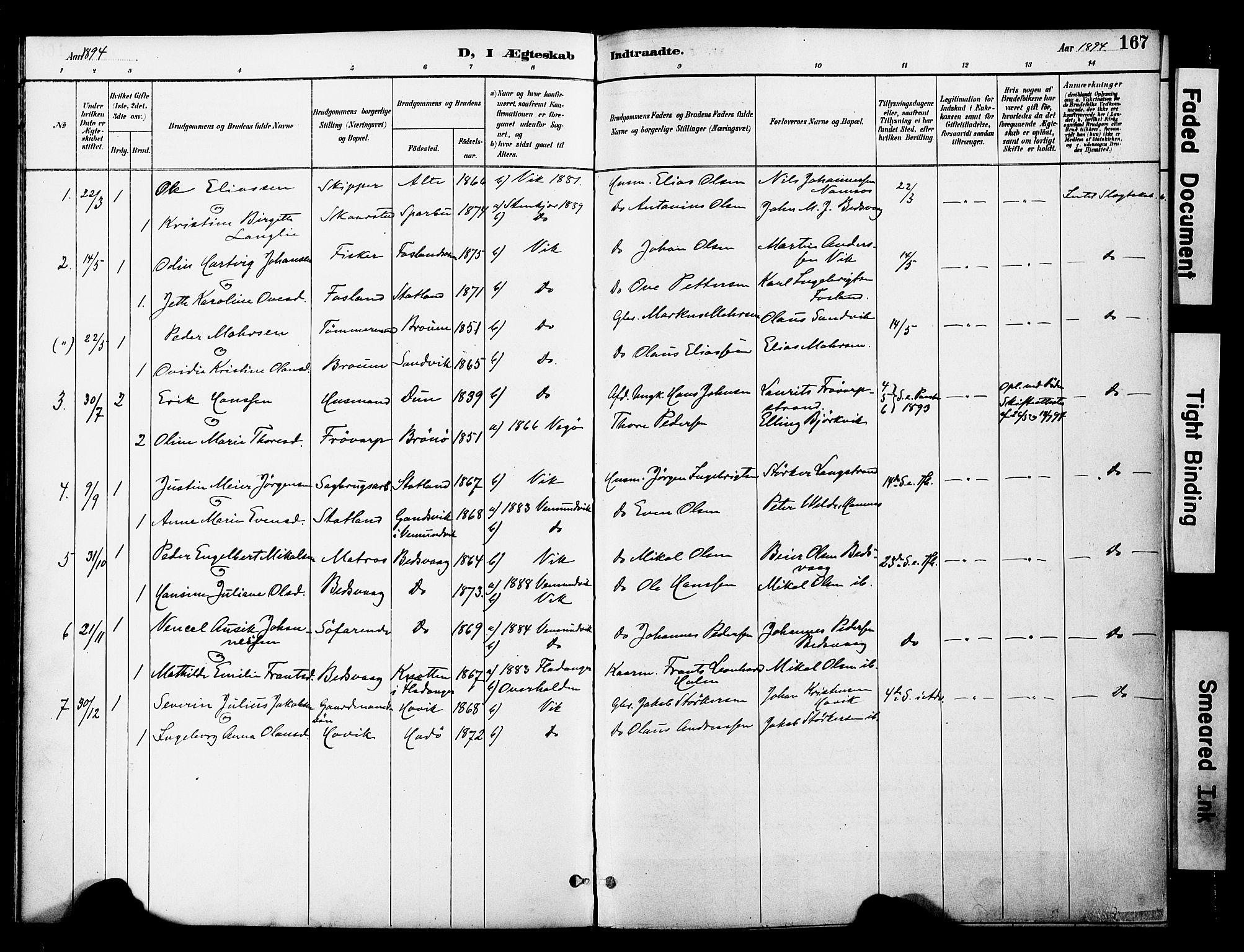 SAT, Ministerialprotokoller, klokkerbøker og fødselsregistre - Nord-Trøndelag, 774/L0628: Ministerialbok nr. 774A02, 1887-1903, s. 167