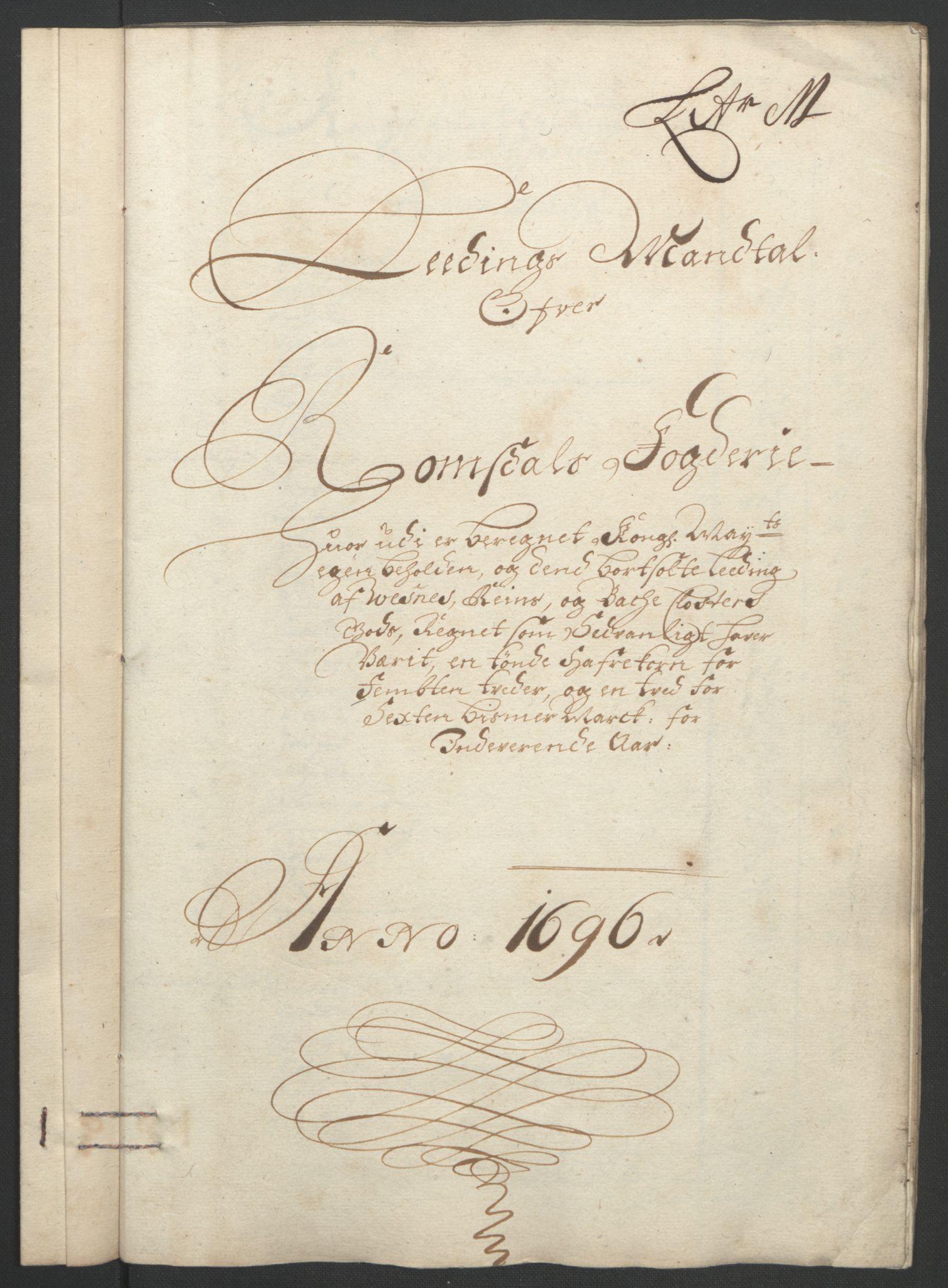 RA, Rentekammeret inntil 1814, Reviderte regnskaper, Fogderegnskap, R55/L3652: Fogderegnskap Romsdal, 1695-1696, s. 259