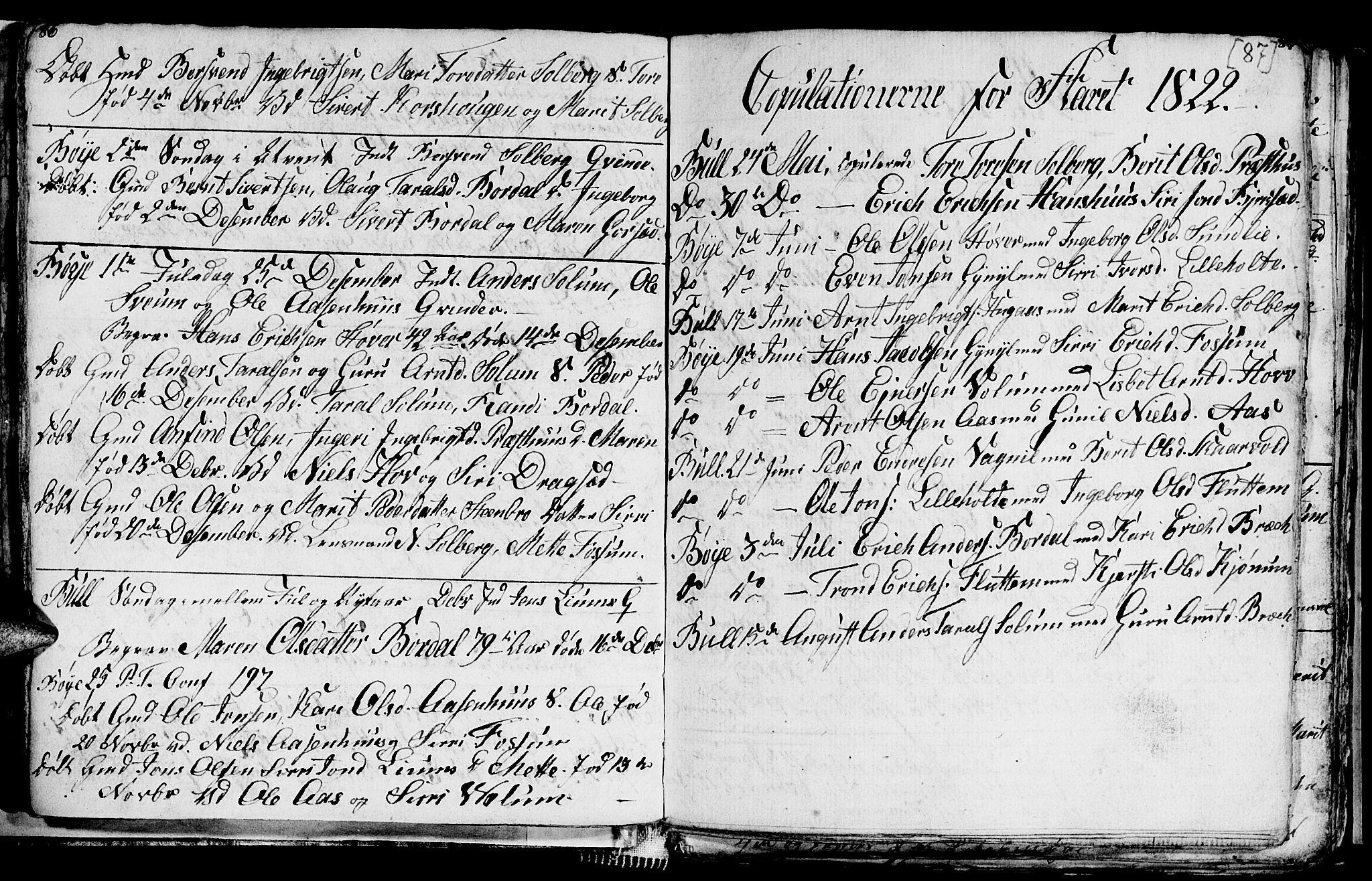 SAT, Ministerialprotokoller, klokkerbøker og fødselsregistre - Sør-Trøndelag, 689/L1042: Klokkerbok nr. 689C01, 1812-1841, s. 86-87