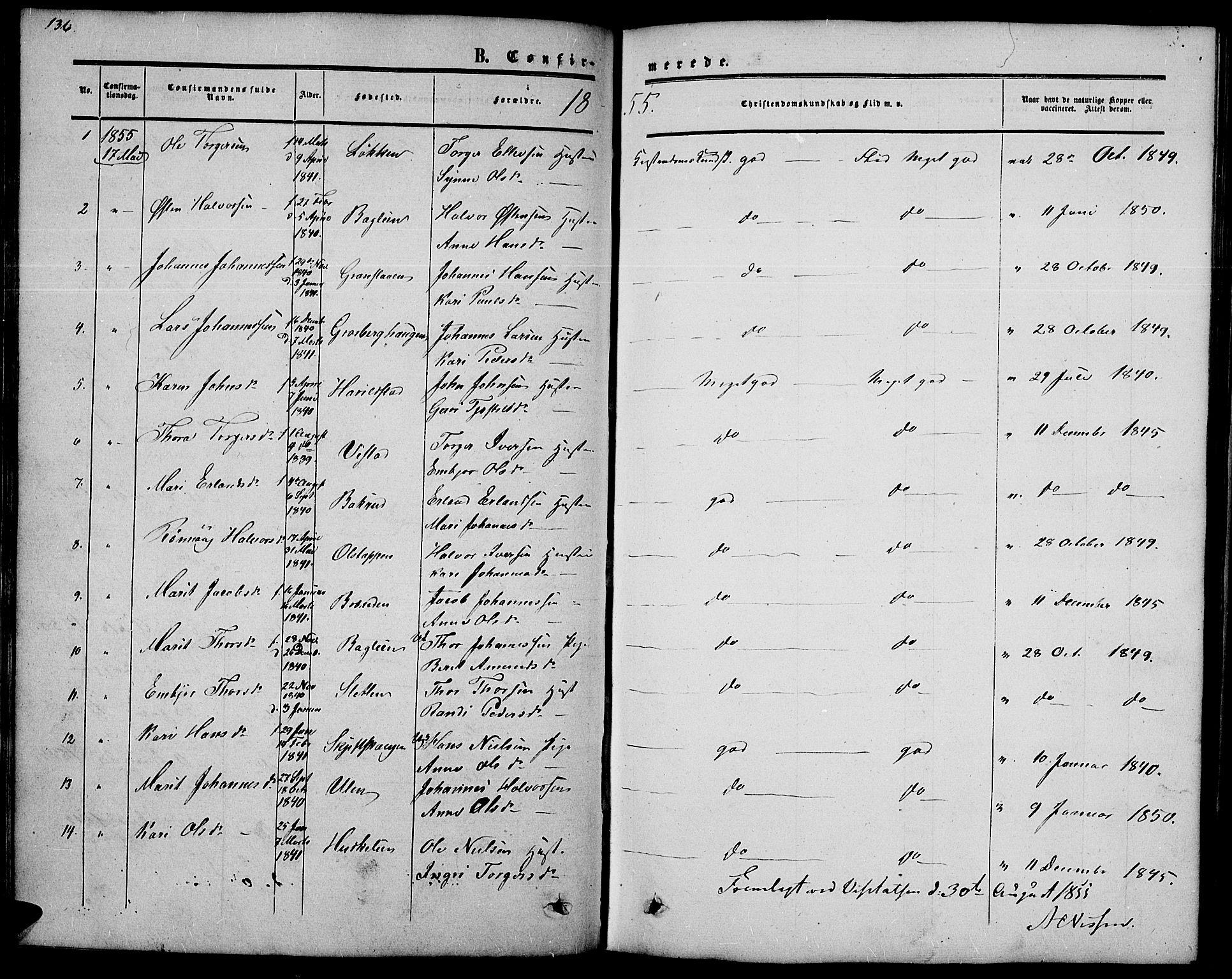 SAH, Nord-Fron prestekontor, Klokkerbok nr. 2, 1851-1883, s. 136