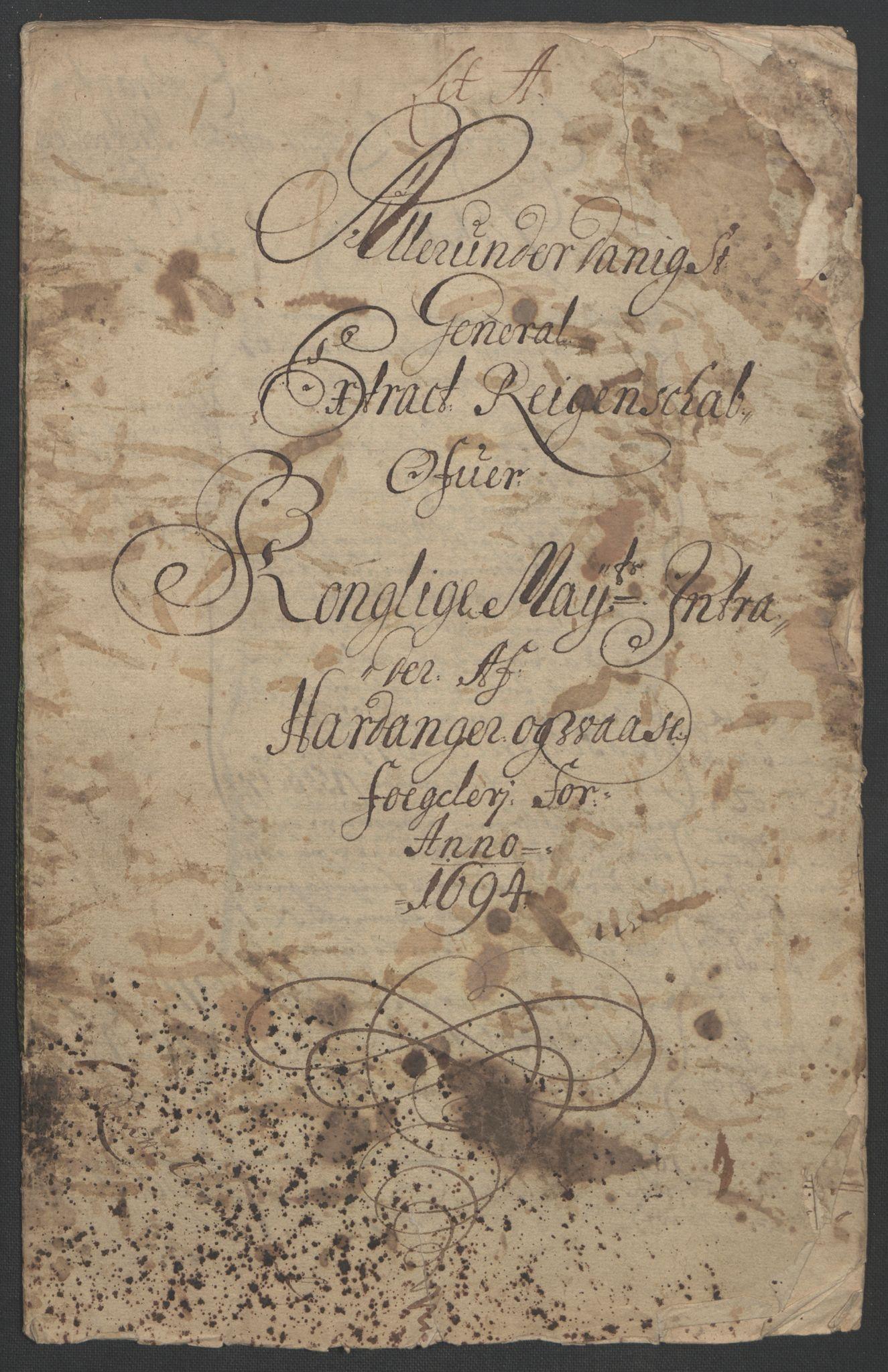 RA, Rentekammeret inntil 1814, Reviderte regnskaper, Fogderegnskap, R48/L2975: Fogderegnskap Sunnhordland og Hardanger, 1694, s. 162