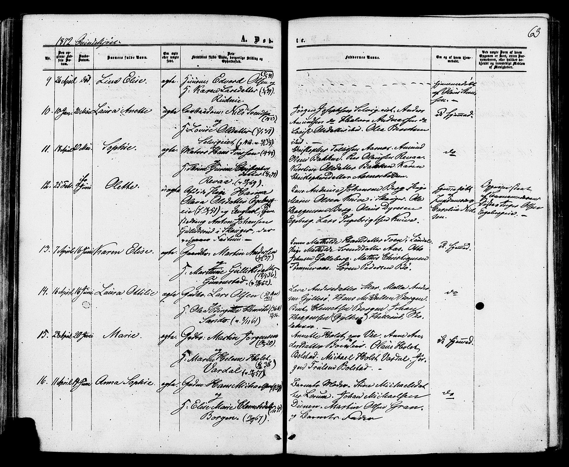 SAKO, Sande Kirkebøker, F/Fa/L0005: Ministerialbok nr. 5, 1865-1877, s. 63