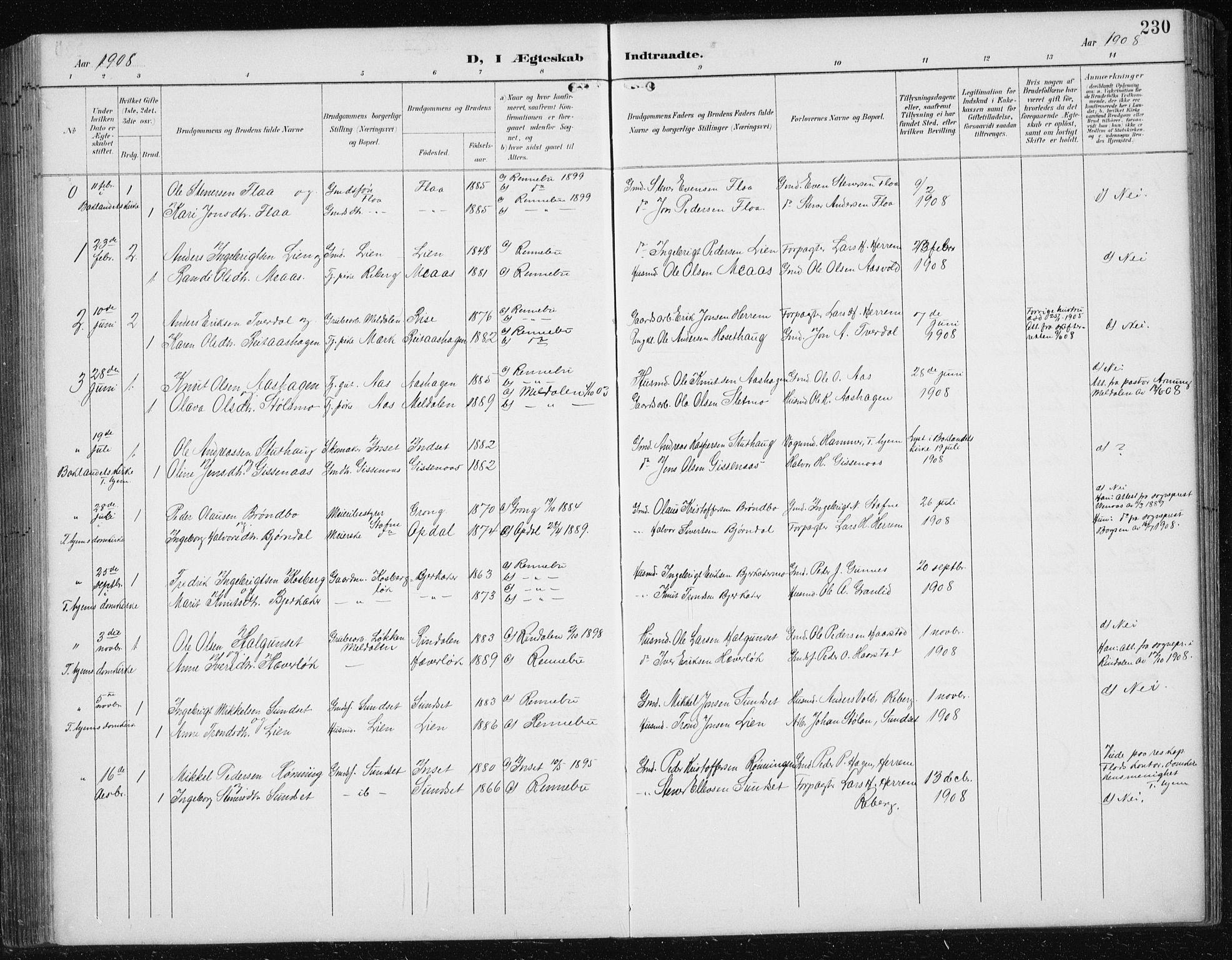 SAT, Ministerialprotokoller, klokkerbøker og fødselsregistre - Sør-Trøndelag, 674/L0876: Klokkerbok nr. 674C03, 1892-1912, s. 230