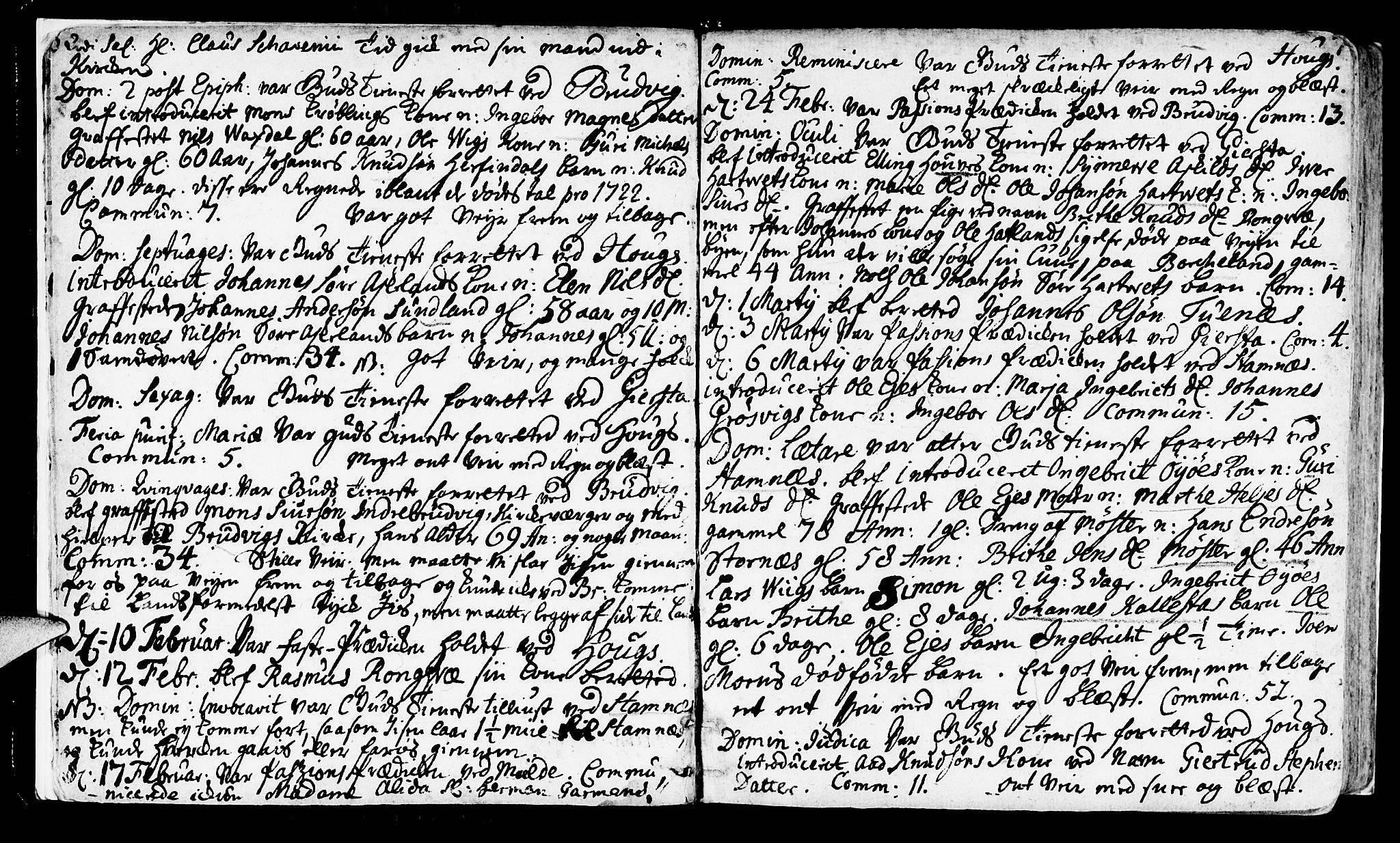 SAB, Haus Sokneprestembete, H/Haa: Ministerialbok nr. A 4, 1723-1733, s. 6-7