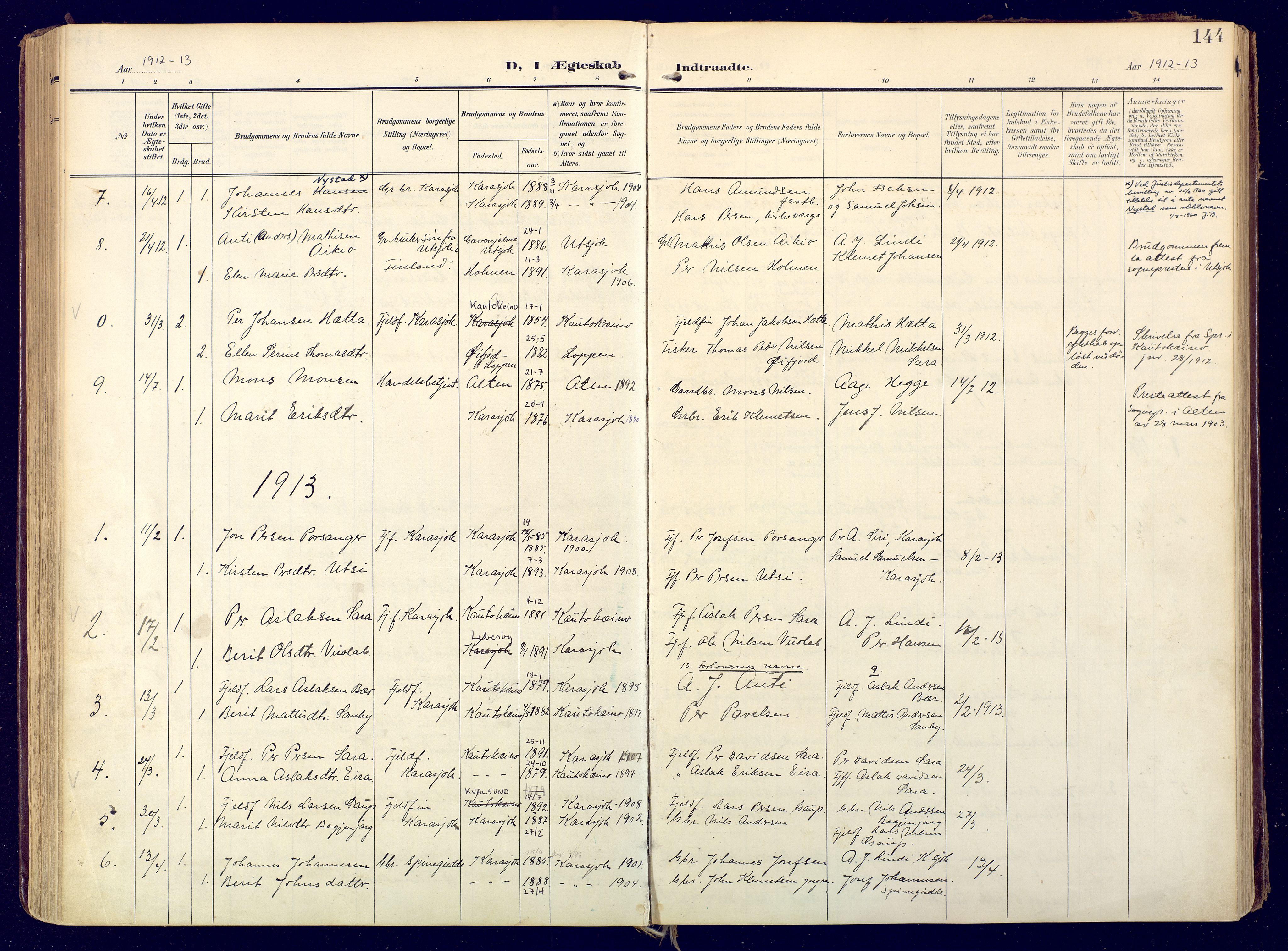 SATØ, Karasjok sokneprestkontor, H/Ha: Ministerialbok nr. 3, 1907-1926, s. 144
