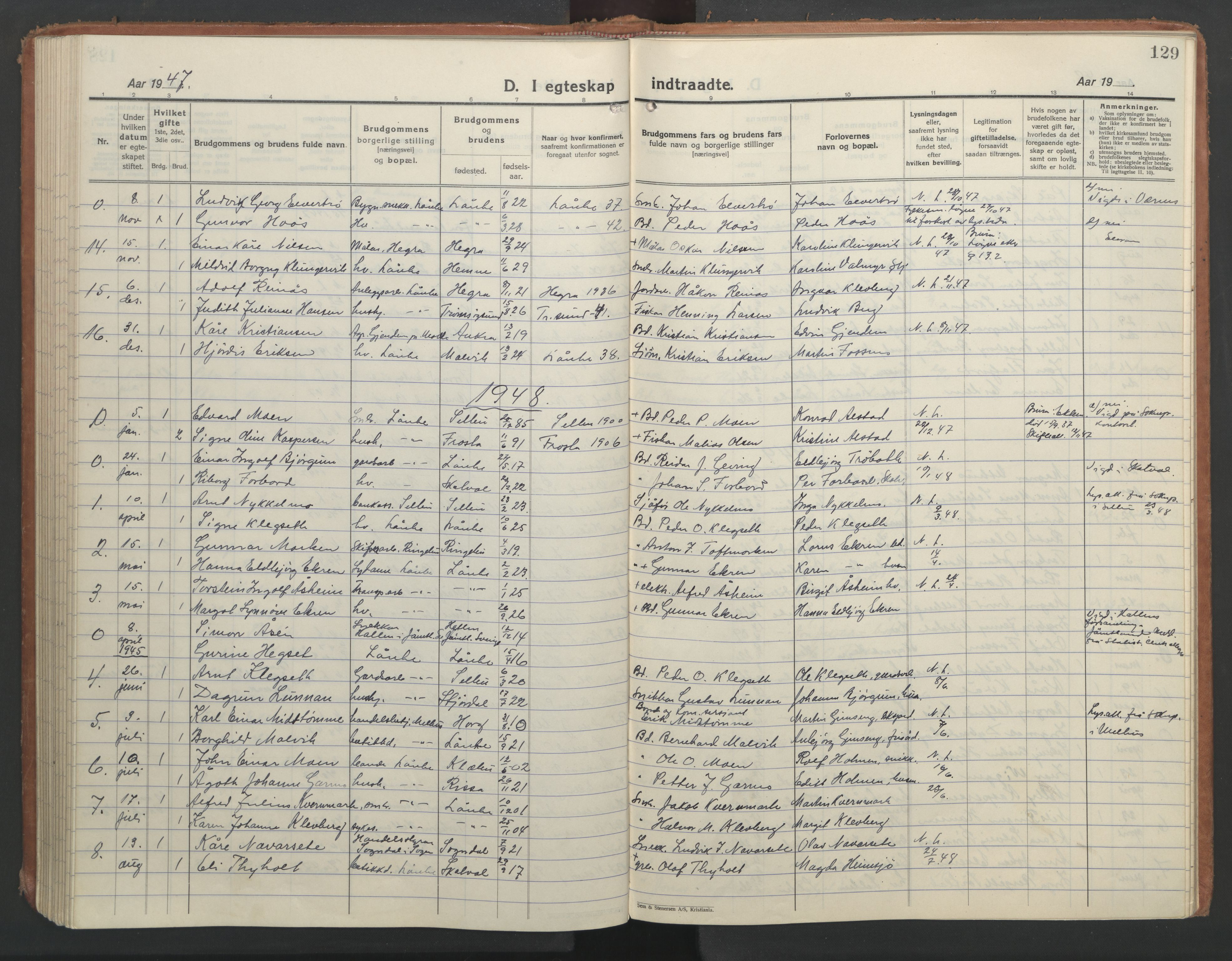 SAT, Ministerialprotokoller, klokkerbøker og fødselsregistre - Nord-Trøndelag, 710/L0097: Klokkerbok nr. 710C02, 1925-1955, s. 129