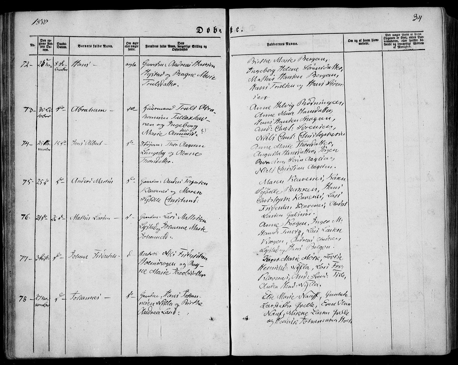 SAKO, Sandar kirkebøker, F/Fa/L0006: Ministerialbok nr. 6, 1847-1860, s. 34