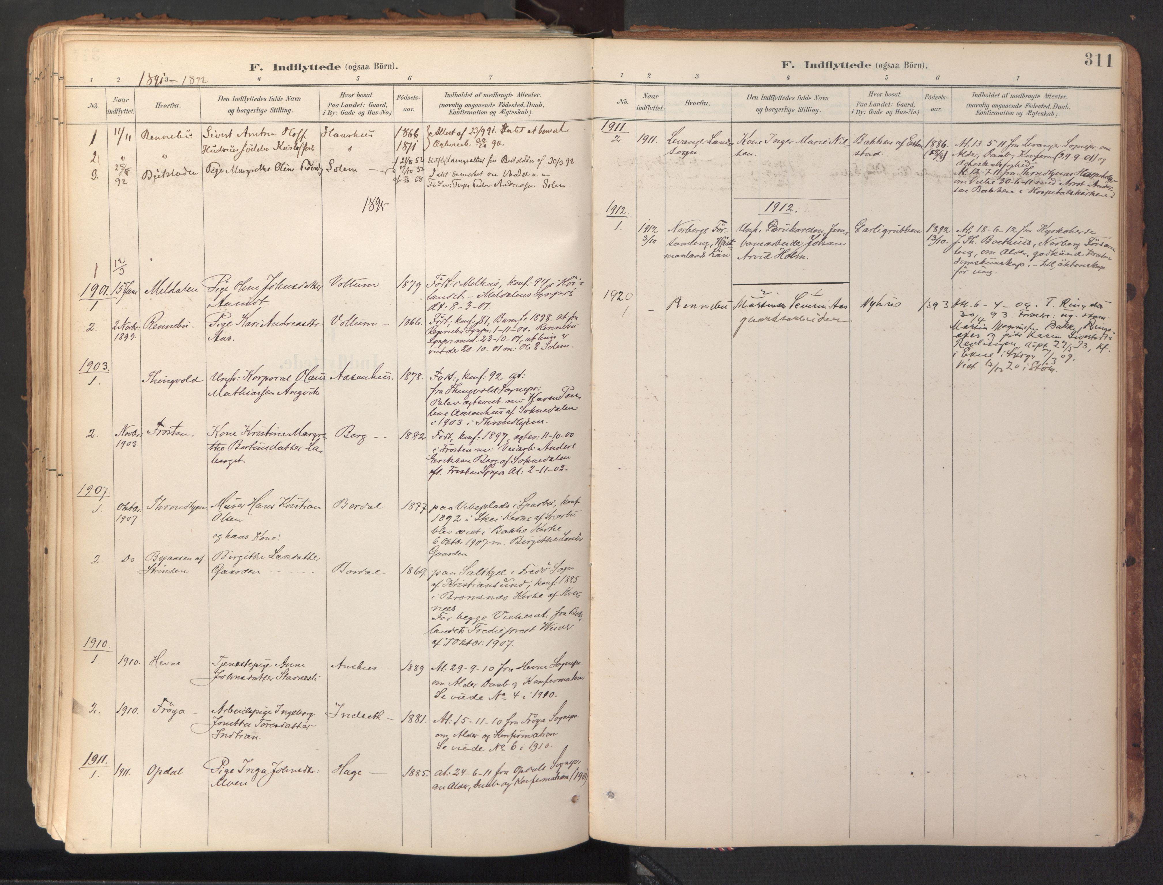 SAT, Ministerialprotokoller, klokkerbøker og fødselsregistre - Sør-Trøndelag, 689/L1041: Ministerialbok nr. 689A06, 1891-1923, s. 311