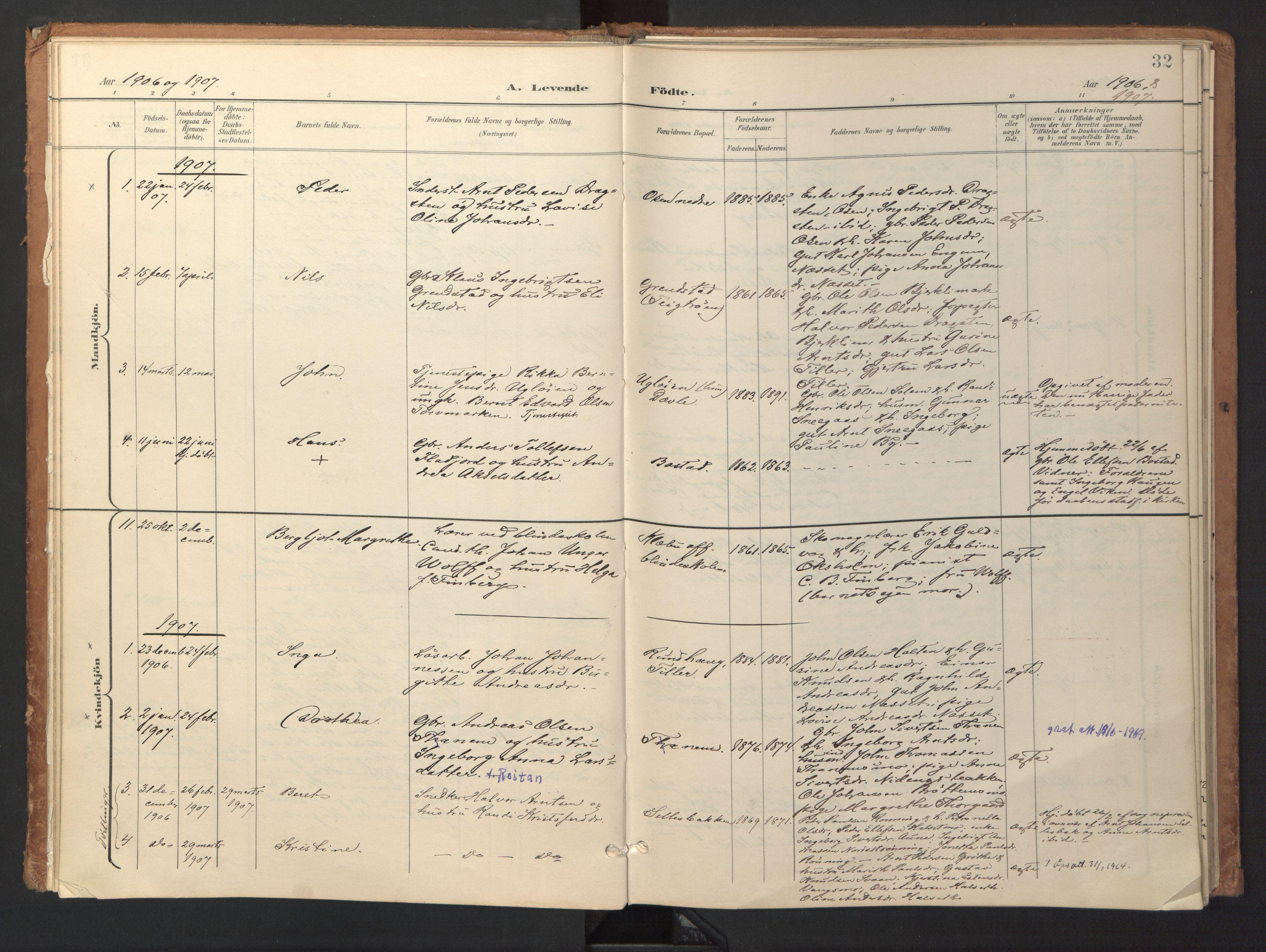 SAT, Ministerialprotokoller, klokkerbøker og fødselsregistre - Sør-Trøndelag, 618/L0448: Ministerialbok nr. 618A11, 1898-1916, s. 32