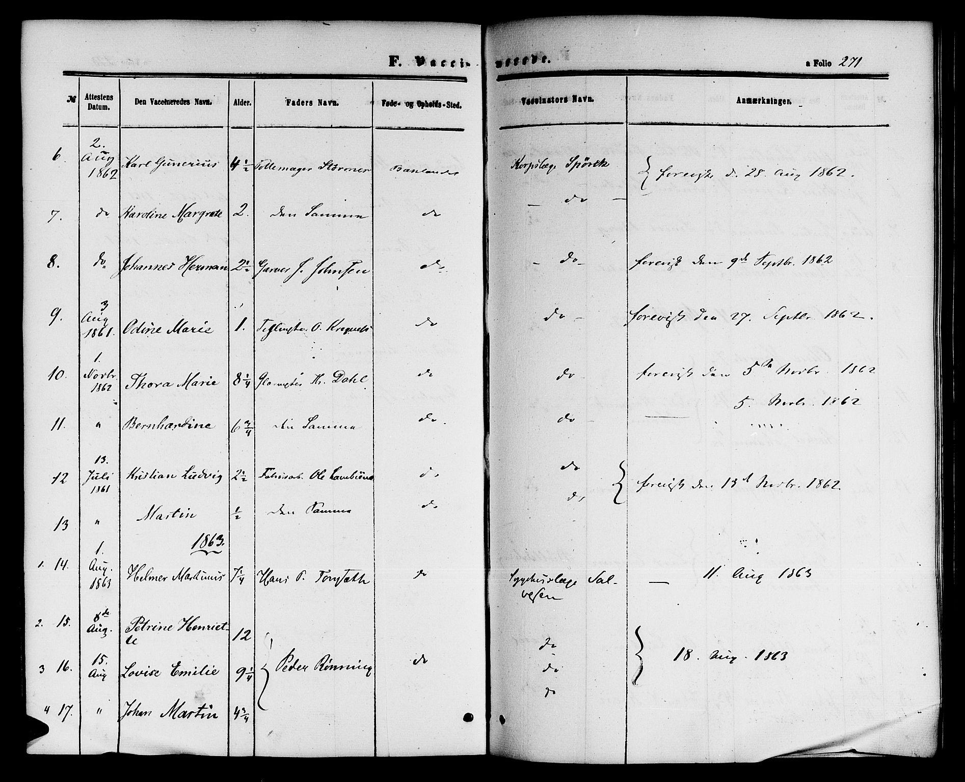 SAT, Ministerialprotokoller, klokkerbøker og fødselsregistre - Sør-Trøndelag, 604/L0185: Ministerialbok nr. 604A06, 1861-1865, s. 271
