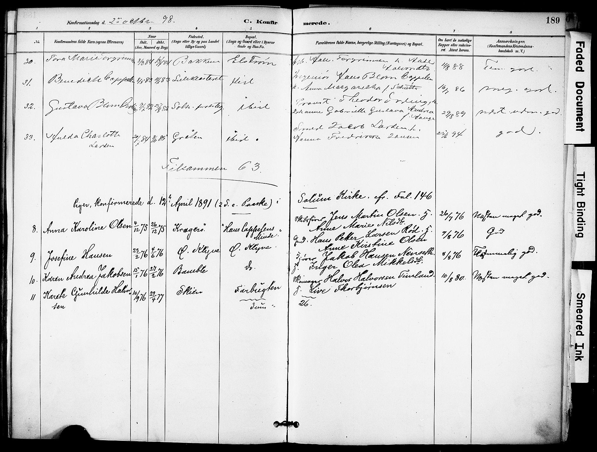 SAKO, Solum kirkebøker, F/Fa/L0010: Ministerialbok nr. I 10, 1888-1898, s. 189