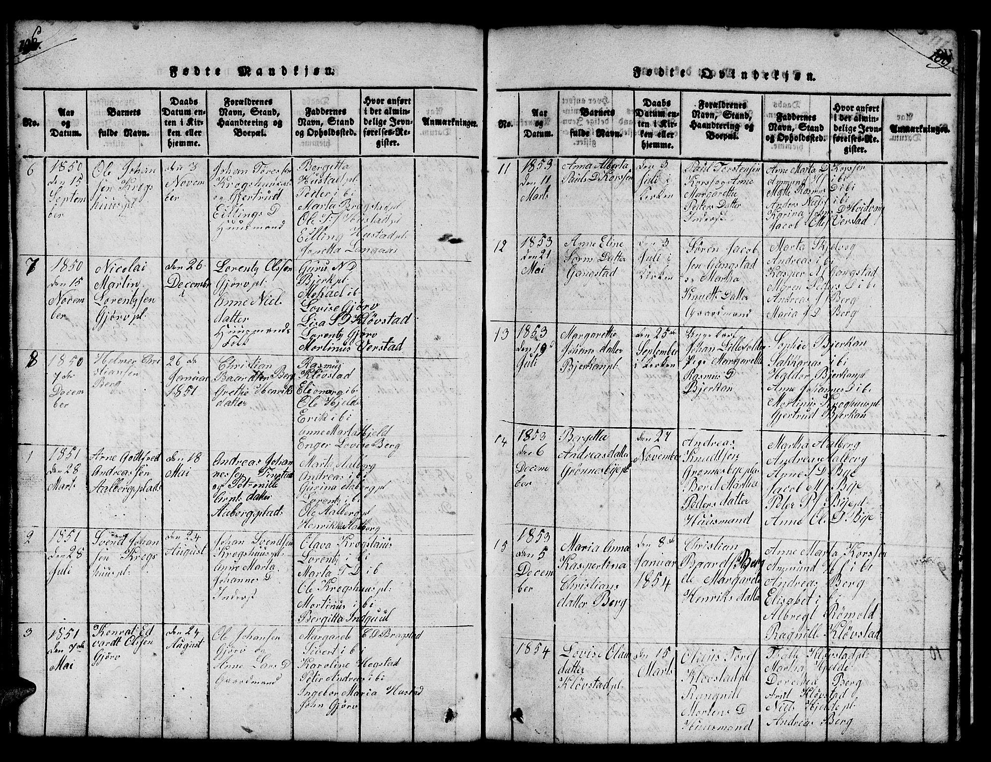 SAT, Ministerialprotokoller, klokkerbøker og fødselsregistre - Nord-Trøndelag, 732/L0317: Klokkerbok nr. 732C01, 1816-1881, s. 108-109