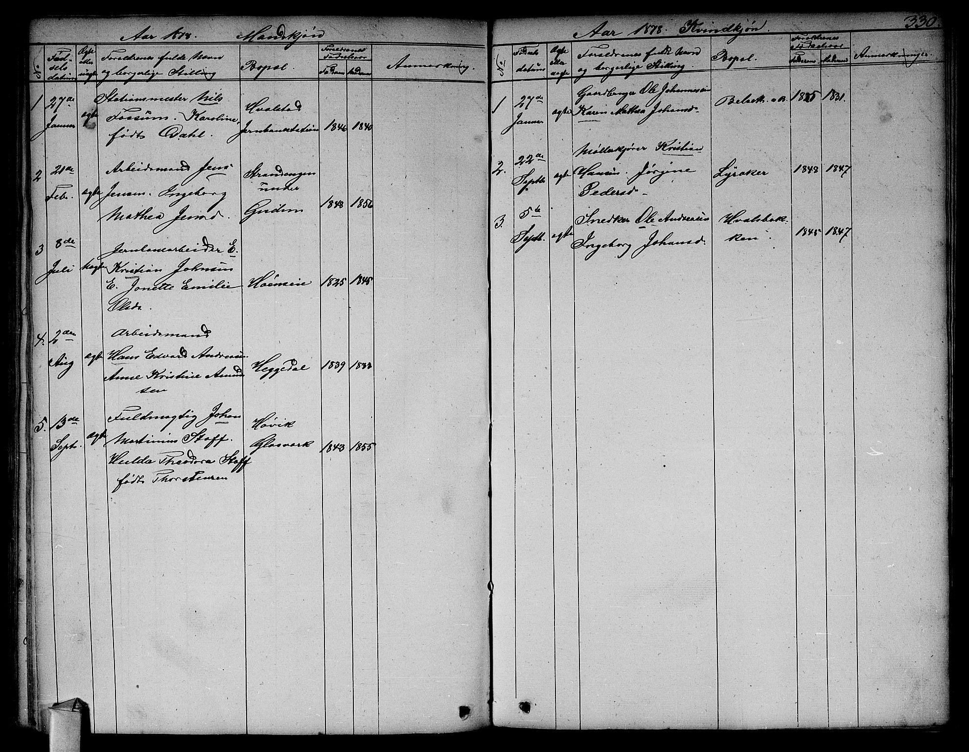 SAO, Asker prestekontor Kirkebøker, F/Fa/L0011: Ministerialbok nr. I 11, 1825-1878, s. 330