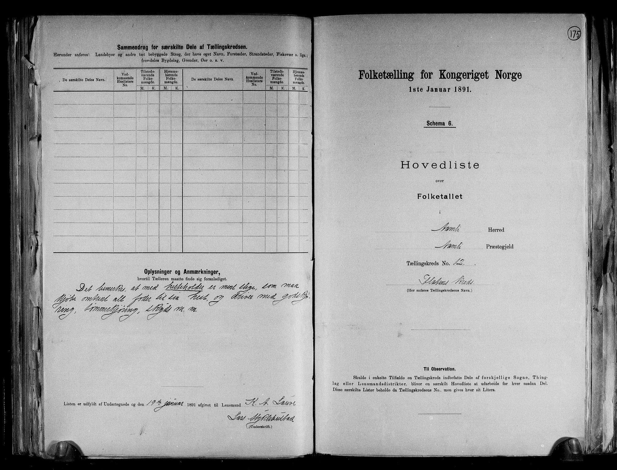 RA, Folketelling 1891 for 0929 Åmli herred, 1891, s. 27