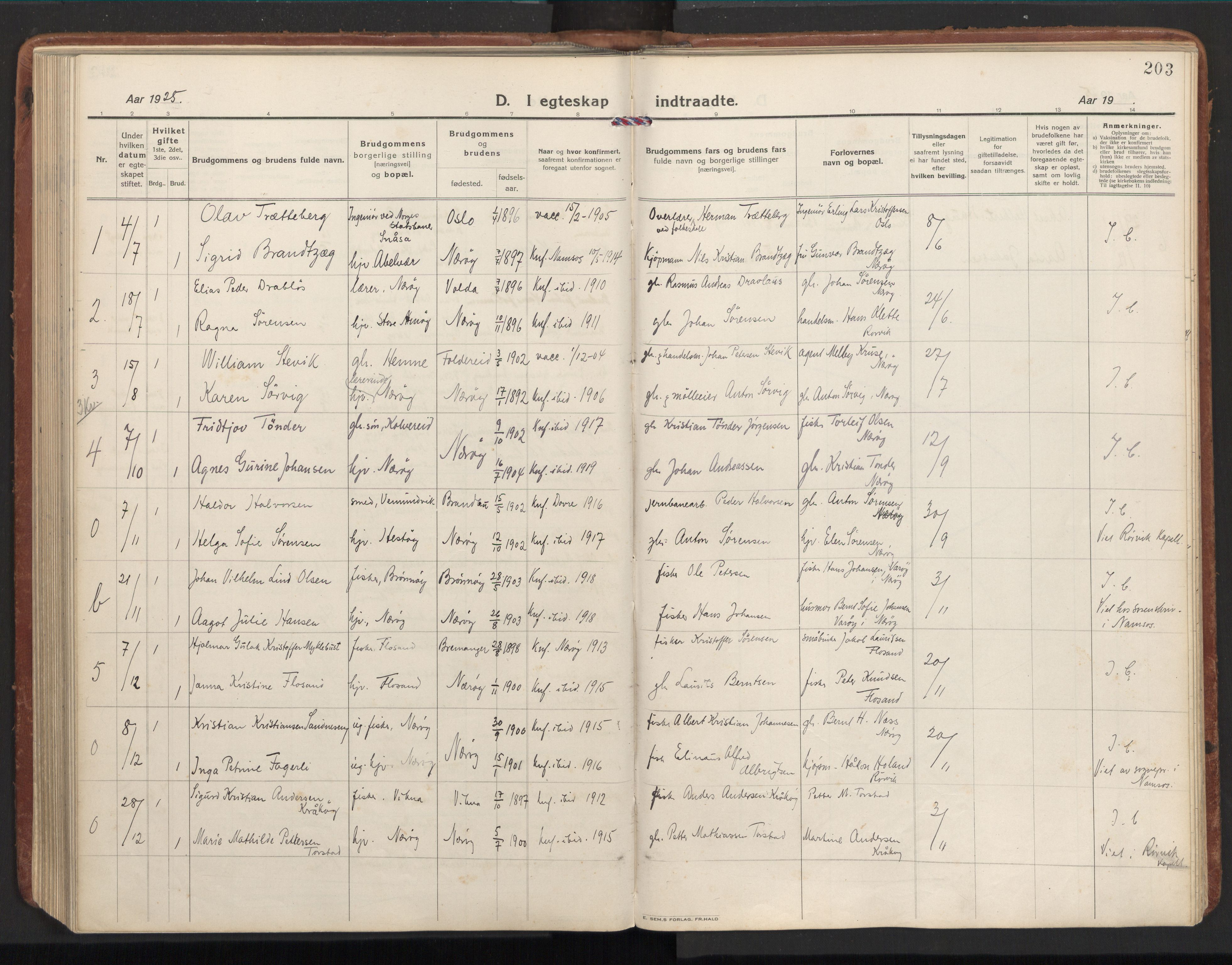 SAT, Ministerialprotokoller, klokkerbøker og fødselsregistre - Nord-Trøndelag, 784/L0678: Ministerialbok nr. 784A13, 1921-1938, s. 203
