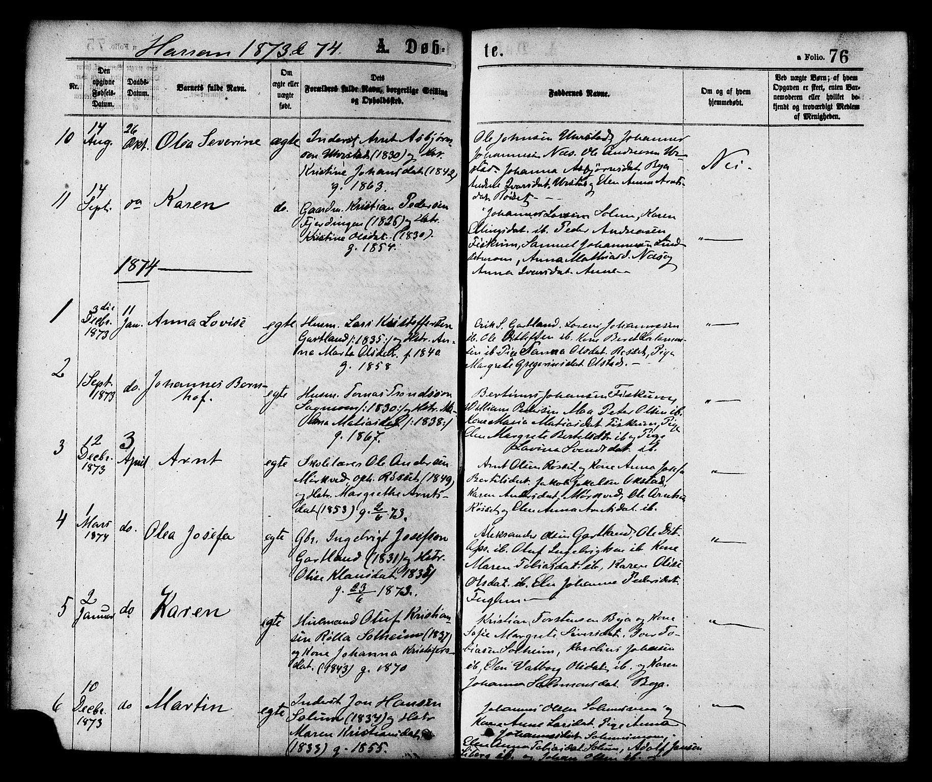 SAT, Ministerialprotokoller, klokkerbøker og fødselsregistre - Nord-Trøndelag, 758/L0516: Ministerialbok nr. 758A03 /3, 1869-1879, s. 76