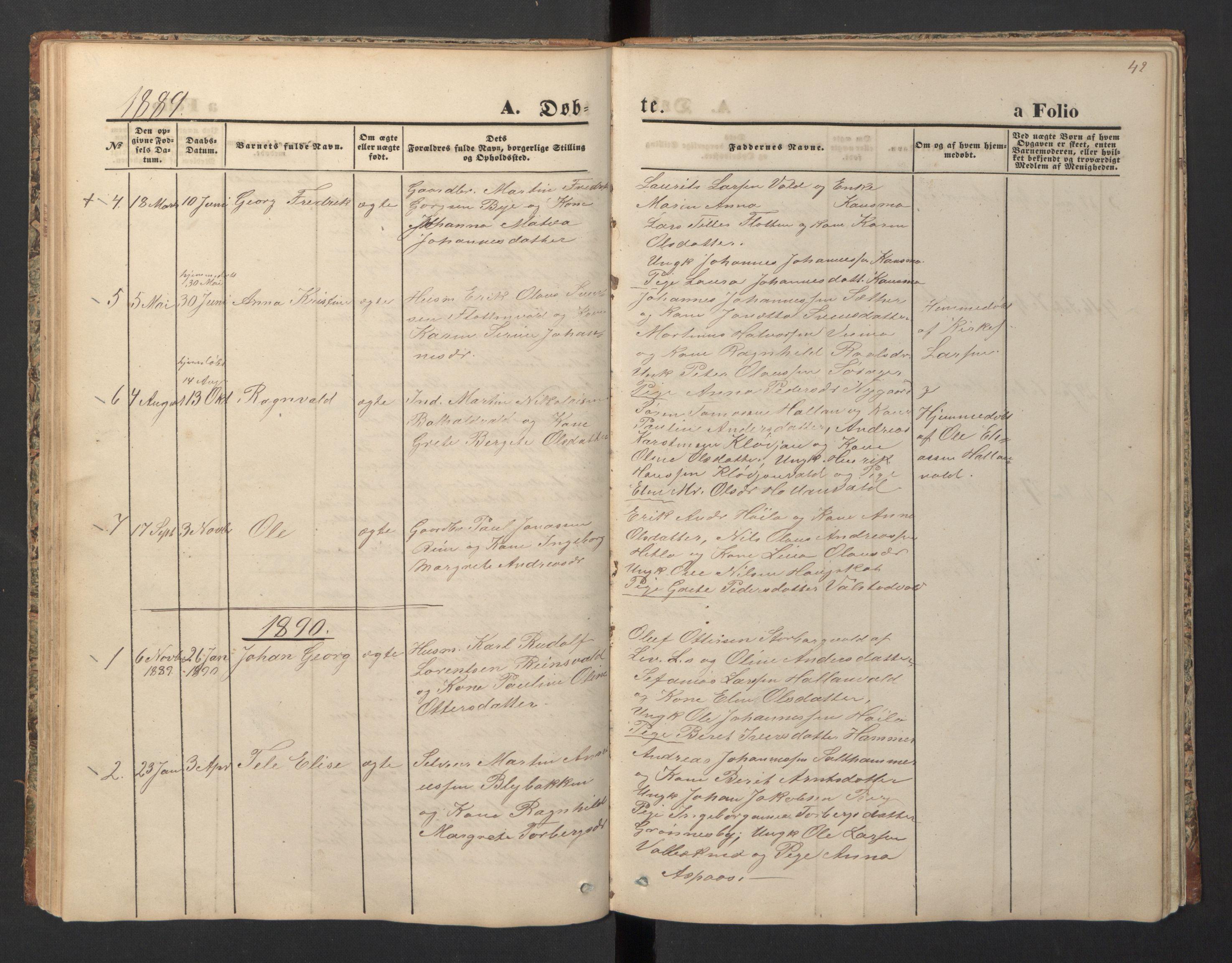 SAT, Ministerialprotokoller, klokkerbøker og fødselsregistre - Nord-Trøndelag, 726/L0271: Klokkerbok nr. 726C02, 1869-1897, s. 42