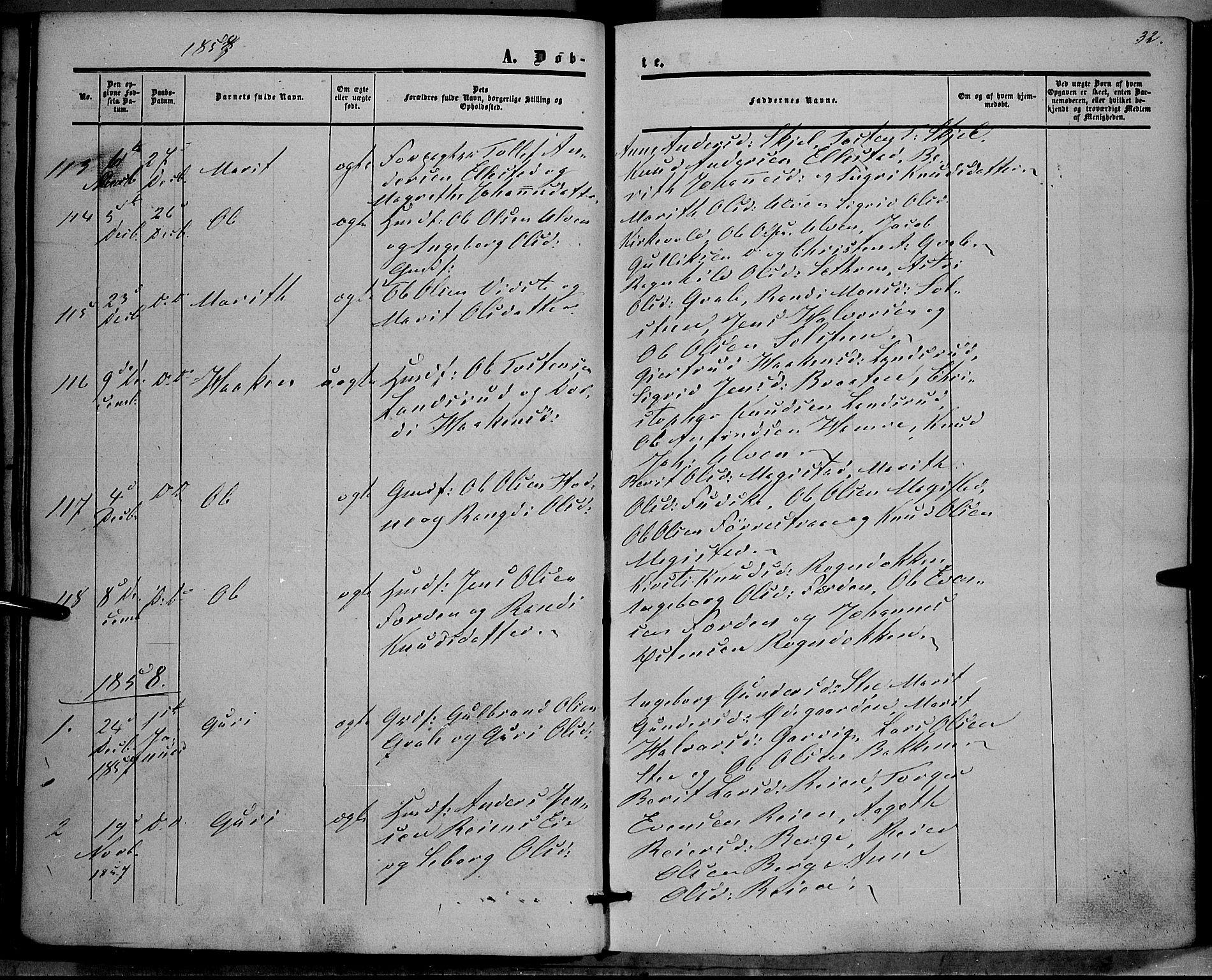 SAH, Vestre Slidre prestekontor, Ministerialbok nr. 2, 1856-1864, s. 32