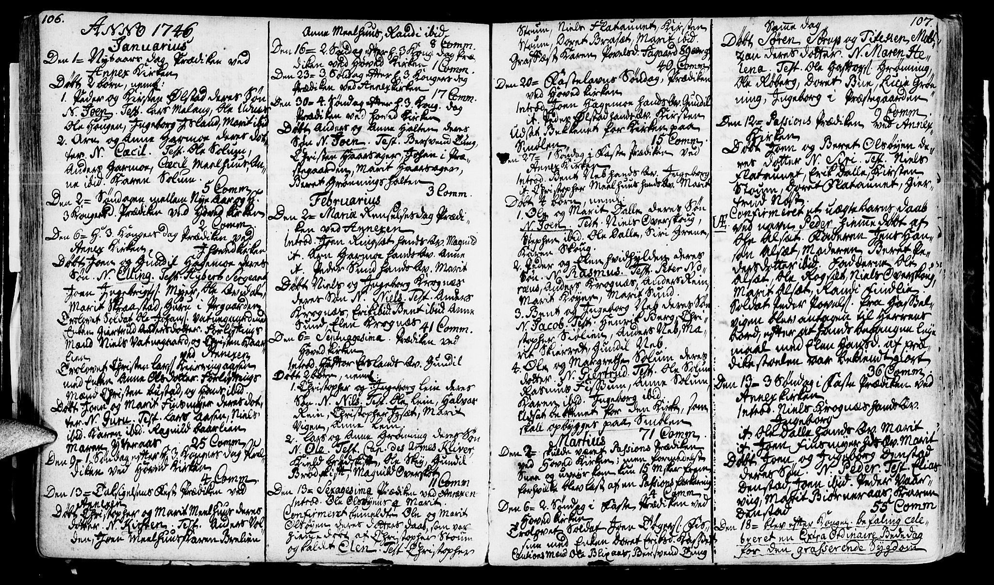 SAT, Ministerialprotokoller, klokkerbøker og fødselsregistre - Sør-Trøndelag, 646/L0604: Ministerialbok nr. 646A02, 1735-1750, s. 106-107