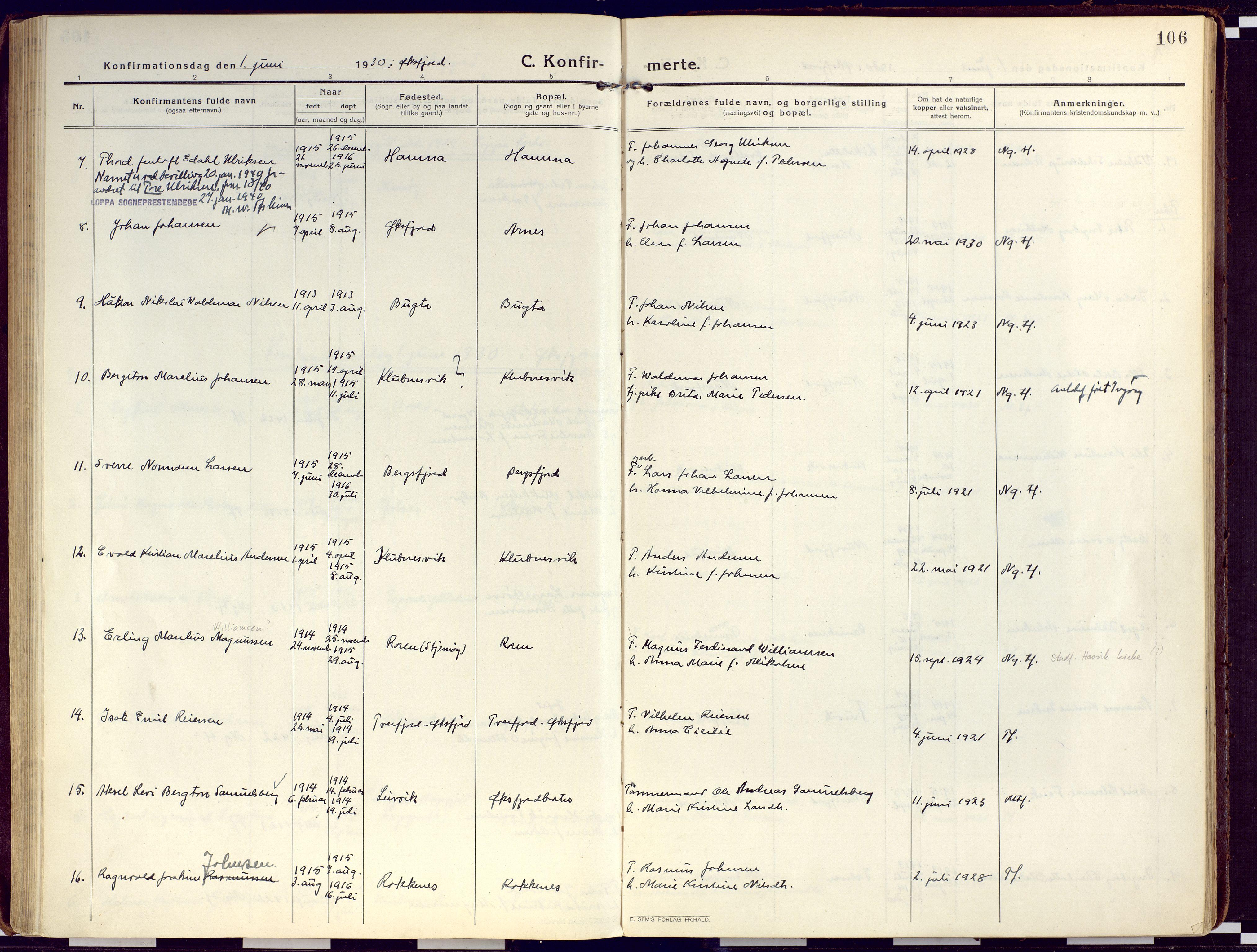 SATØ, Loppa sokneprestkontor, H/Ha/L0012kirke: Ministerialbok nr. 12, 1917-1932, s. 106
