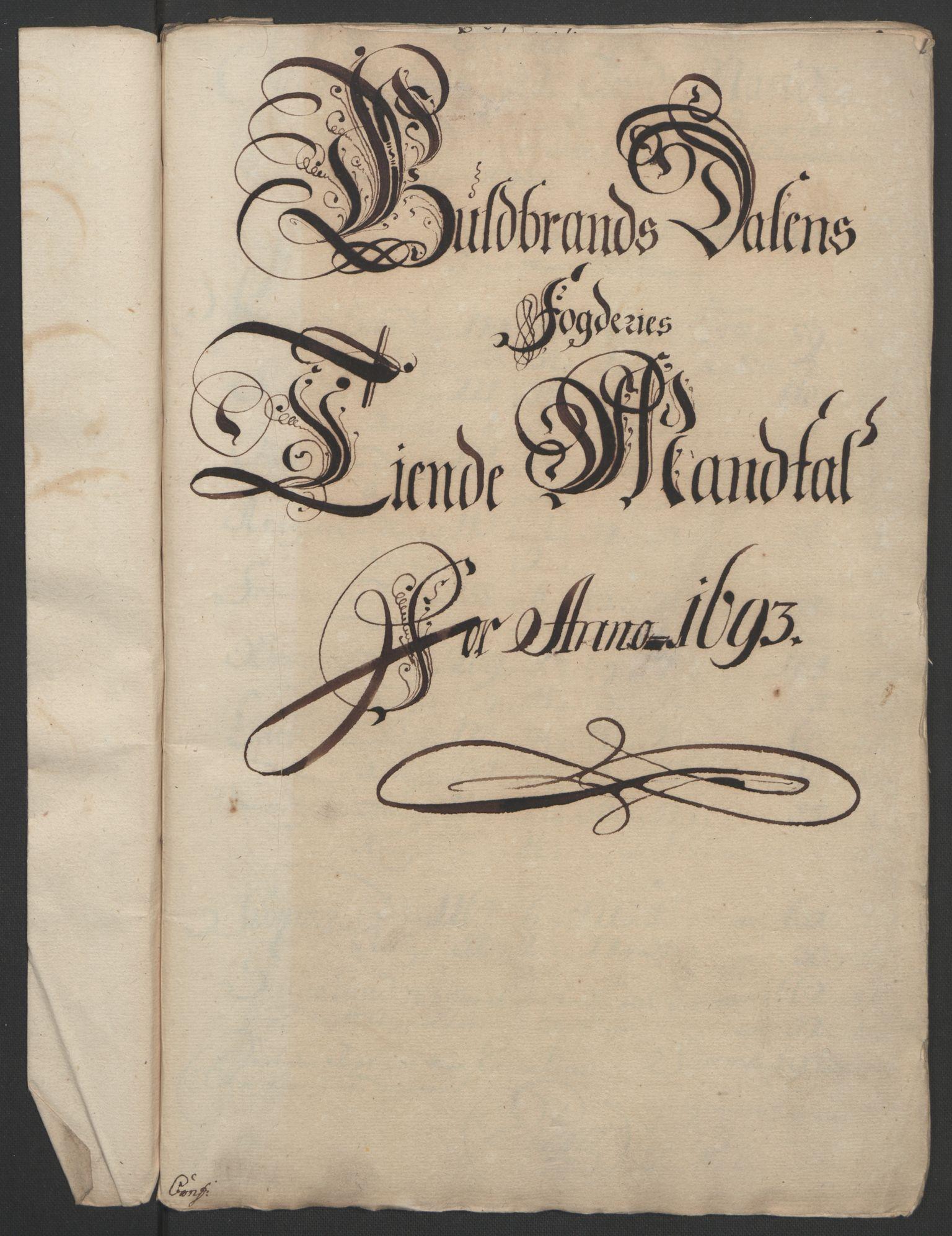 RA, Rentekammeret inntil 1814, Reviderte regnskaper, Fogderegnskap, R17/L1167: Fogderegnskap Gudbrandsdal, 1693, s. 229