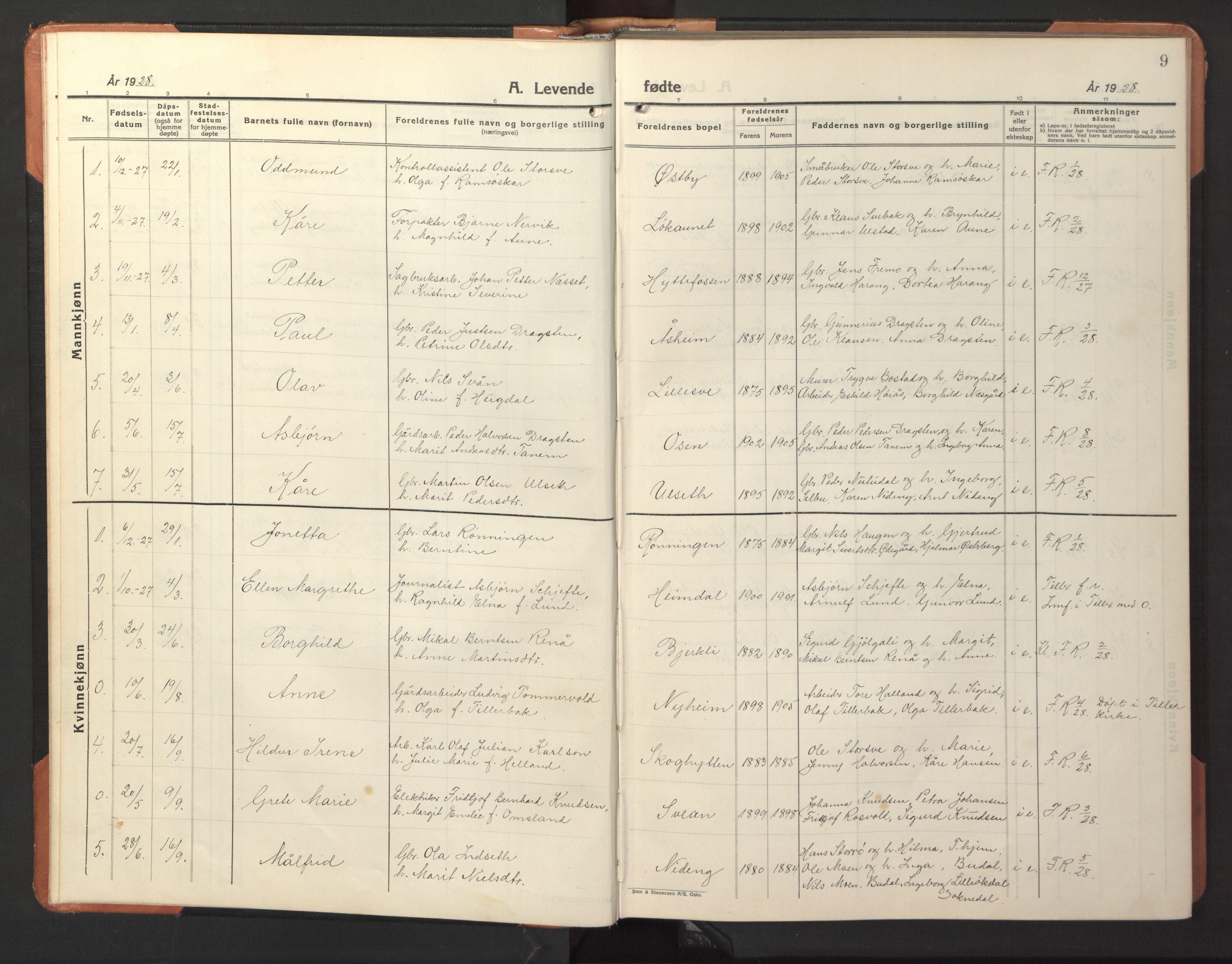 SAT, Ministerialprotokoller, klokkerbøker og fødselsregistre - Sør-Trøndelag, 618/L0454: Klokkerbok nr. 618C05, 1926-1946, s. 9