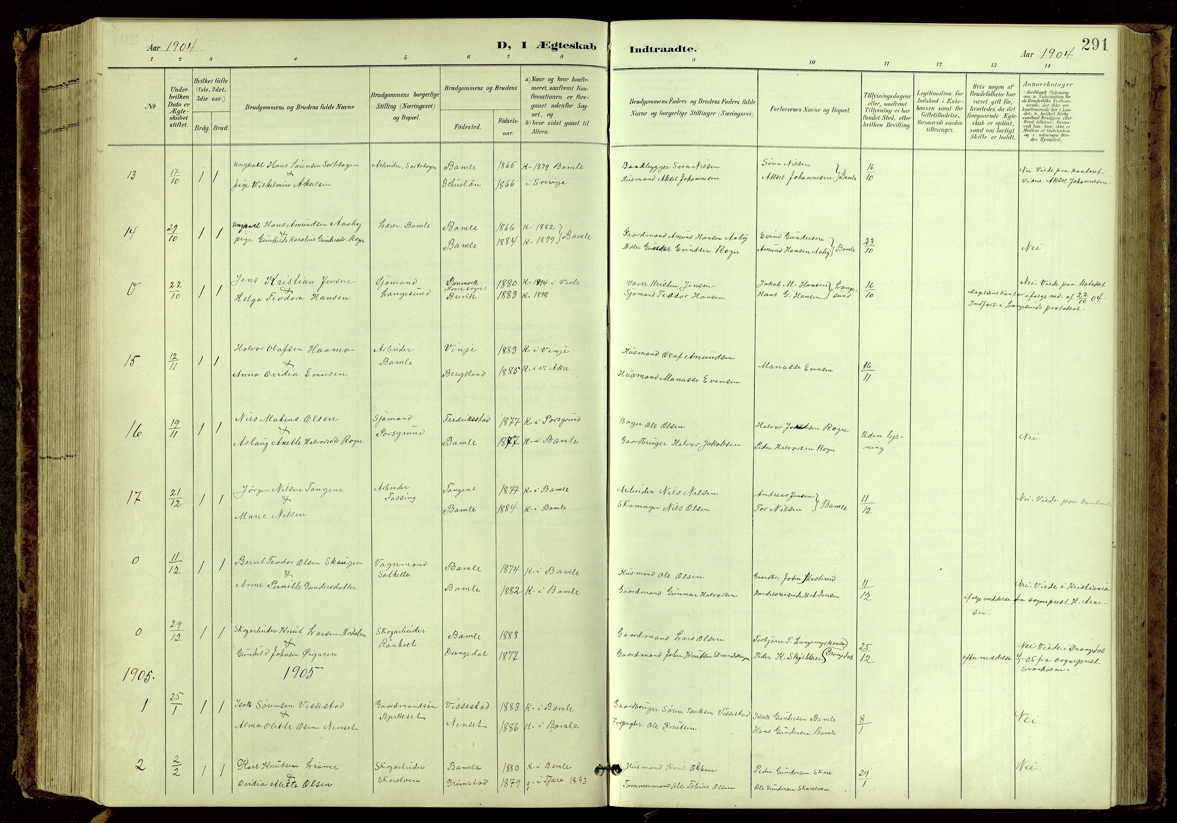 SAKO, Bamble kirkebøker, G/Ga/L0010: Klokkerbok nr. I 10, 1901-1919, s. 291