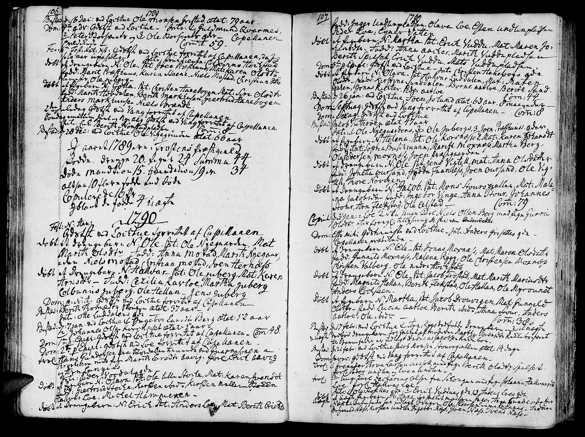 SAT, Ministerialprotokoller, klokkerbøker og fødselsregistre - Nord-Trøndelag, 713/L0110: Ministerialbok nr. 713A02, 1778-1811, s. 106-107
