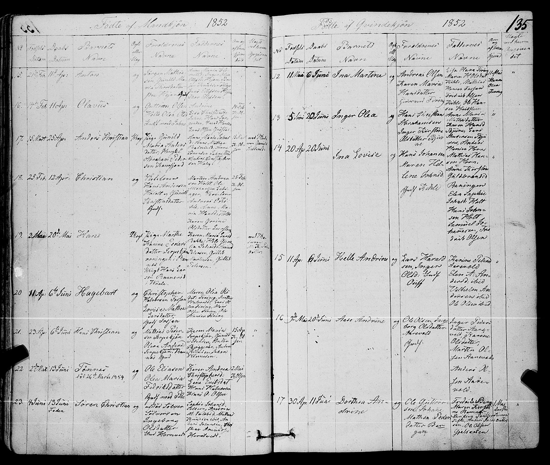 SAKO, Ramnes kirkebøker, F/Fa/L0005: Ministerialbok nr. I 5, 1841-1861, s. 134-135