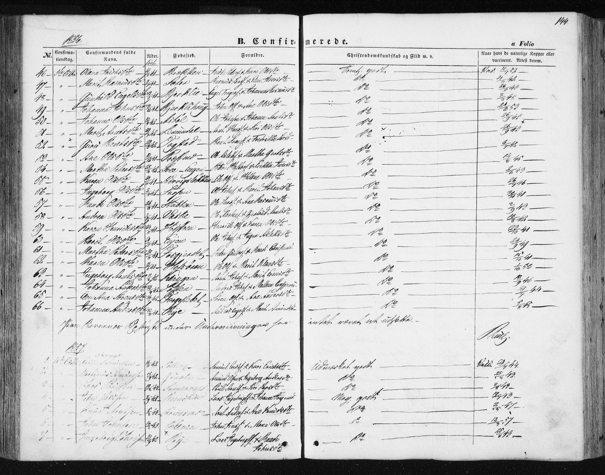 SAT, Ministerialprotokoller, klokkerbøker og fødselsregistre - Sør-Trøndelag, 668/L0806: Ministerialbok nr. 668A06, 1854-1869, s. 144