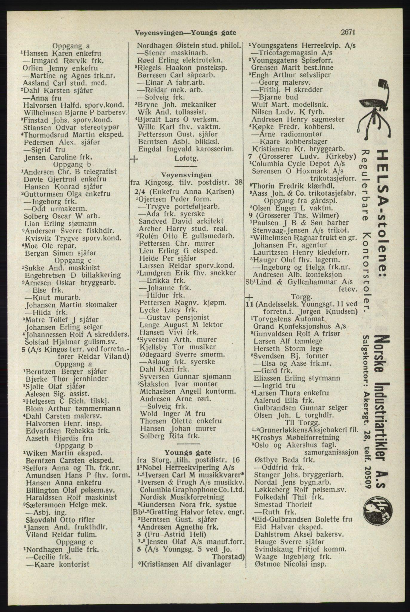 RA, Oslo adressebok (publikasjon)*, 1940, s. 2671
