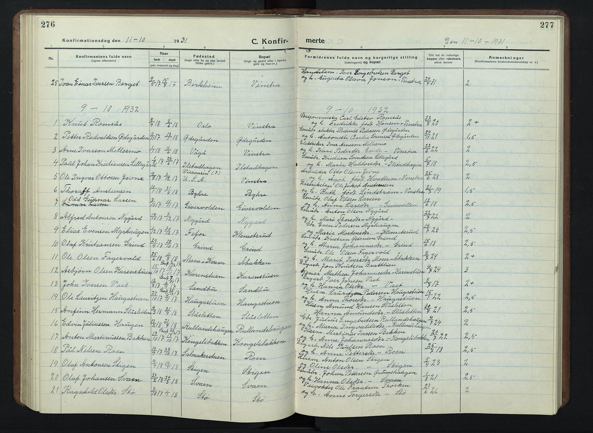 SAH, Nord-Fron prestekontor, Klokkerbok nr. 7, 1915-1946, s. 276-277