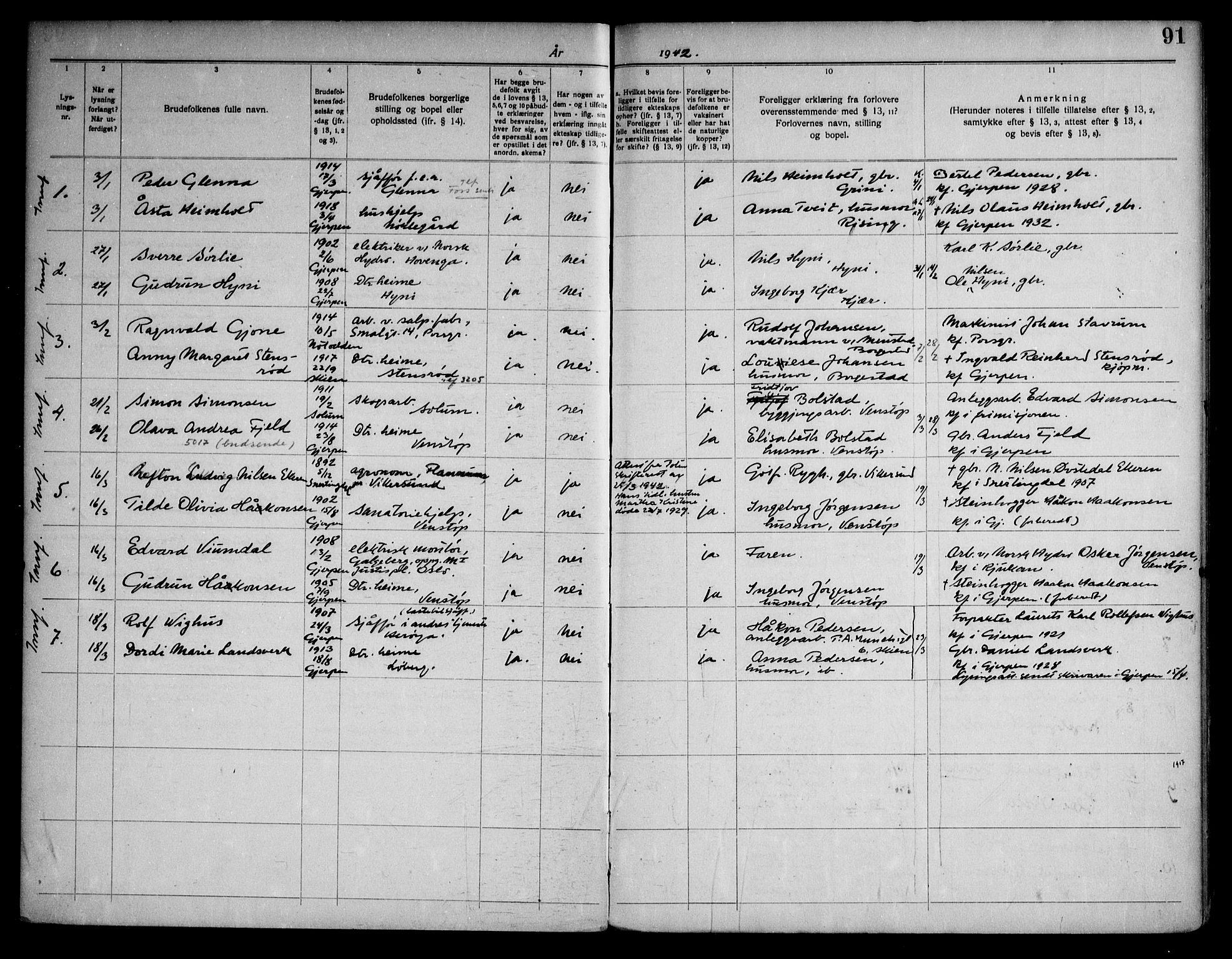 SAKO, Gjerpen kirkebøker, H/Ha/L0003: Lysningsprotokoll nr. I 3, 1919-1946, s. 91