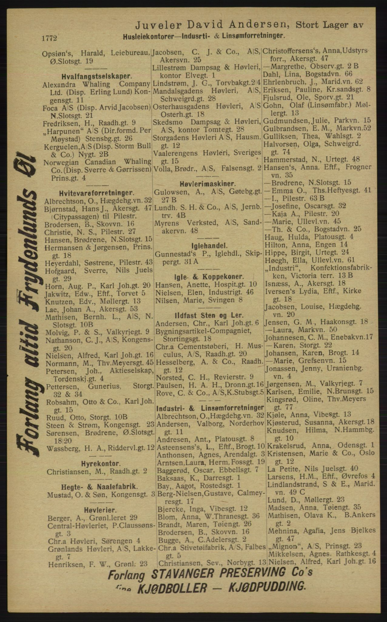 RA, Kristiania adressebok (publikasjon)*, 1913, s. 1772