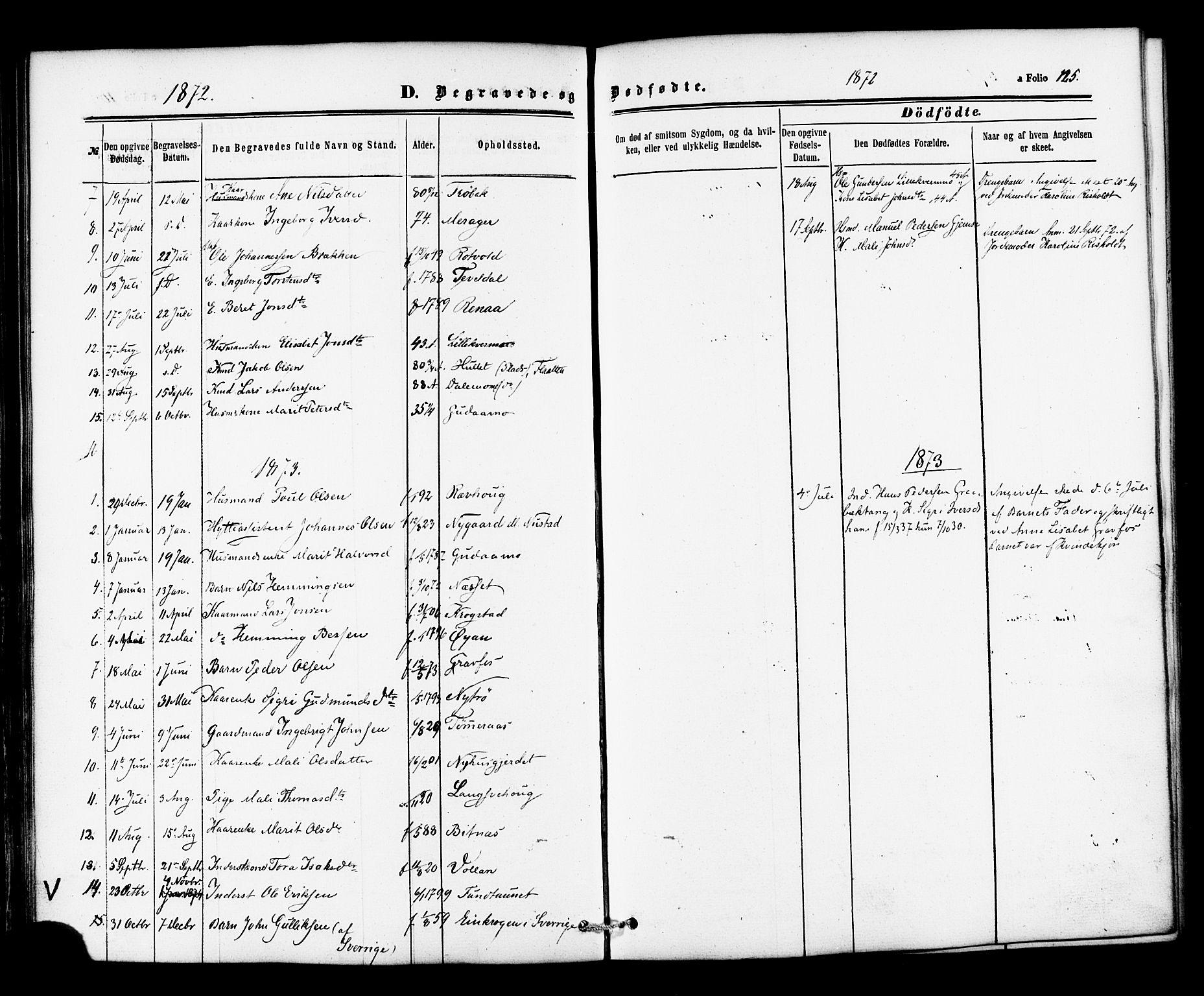 SAT, Ministerialprotokoller, klokkerbøker og fødselsregistre - Nord-Trøndelag, 706/L0041: Ministerialbok nr. 706A02, 1862-1877, s. 125