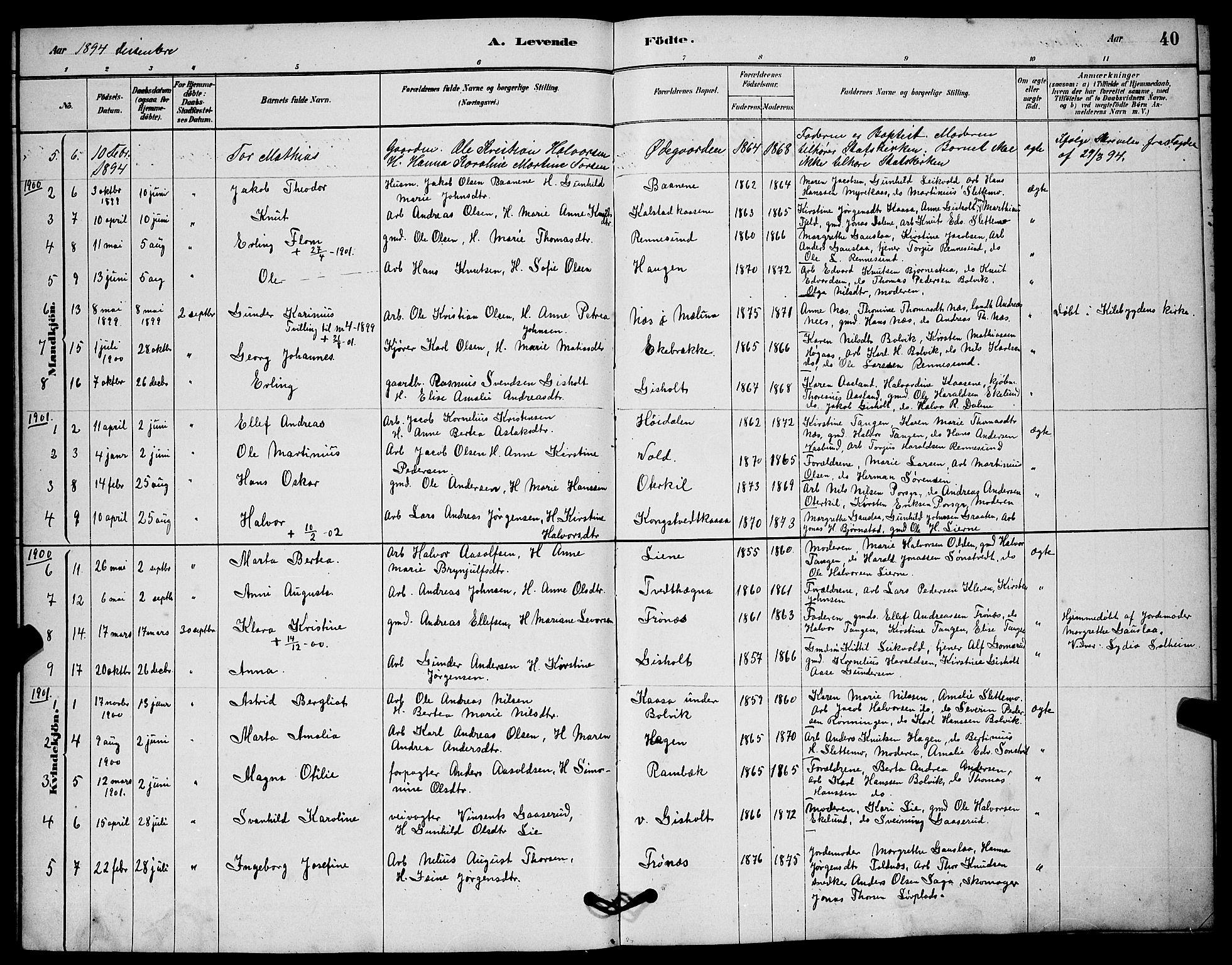SAKO, Solum kirkebøker, G/Gc/L0001: Klokkerbok nr. III 1, 1880-1902, s. 40