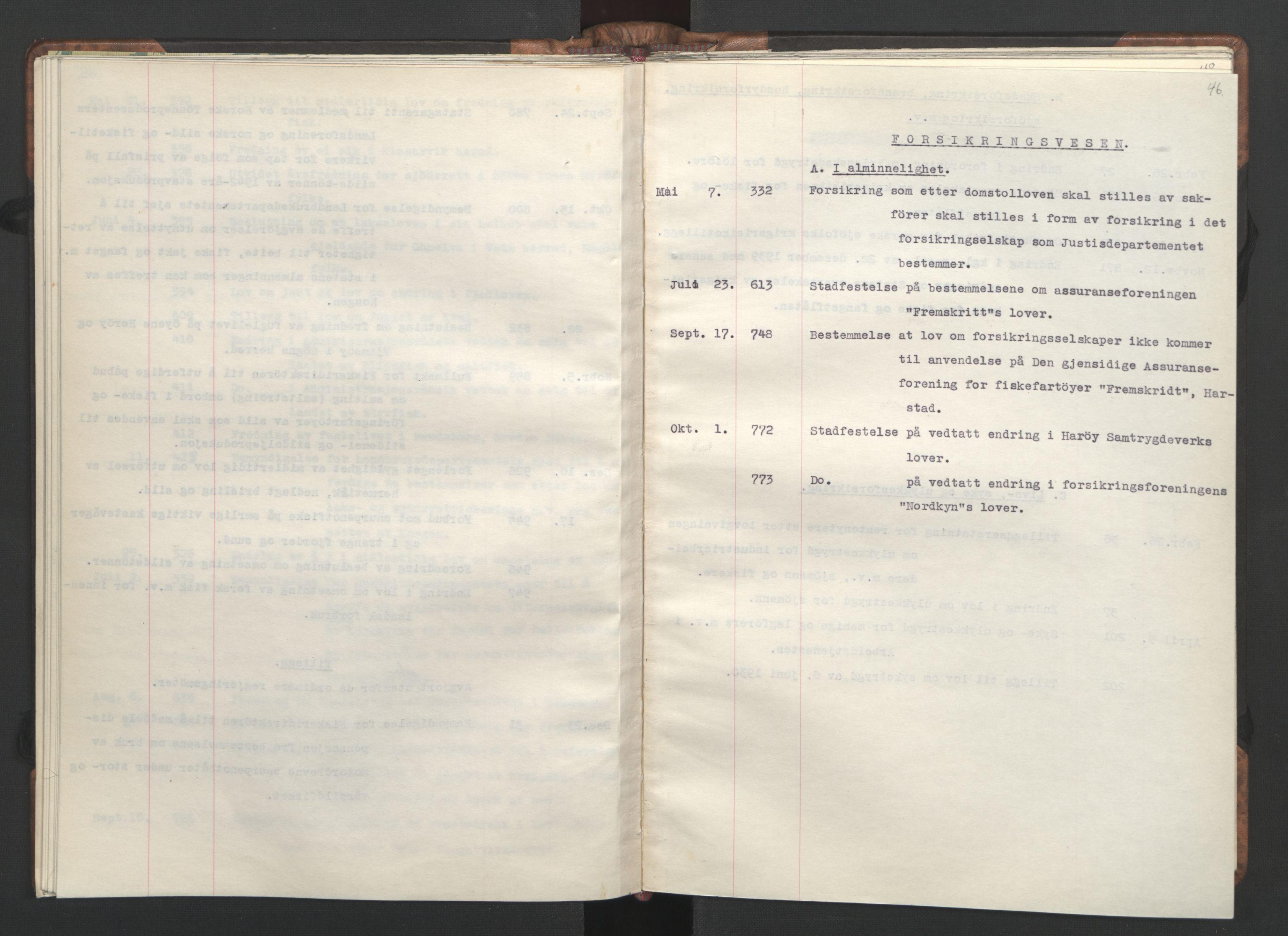RA, NS-administrasjonen 1940-1945 (Statsrådsekretariatet, de kommisariske statsråder mm), D/Da/L0002: Register (RA j.nr. 985/1943, tilgangsnr. 17/1943), 1942, s. 45b-46a