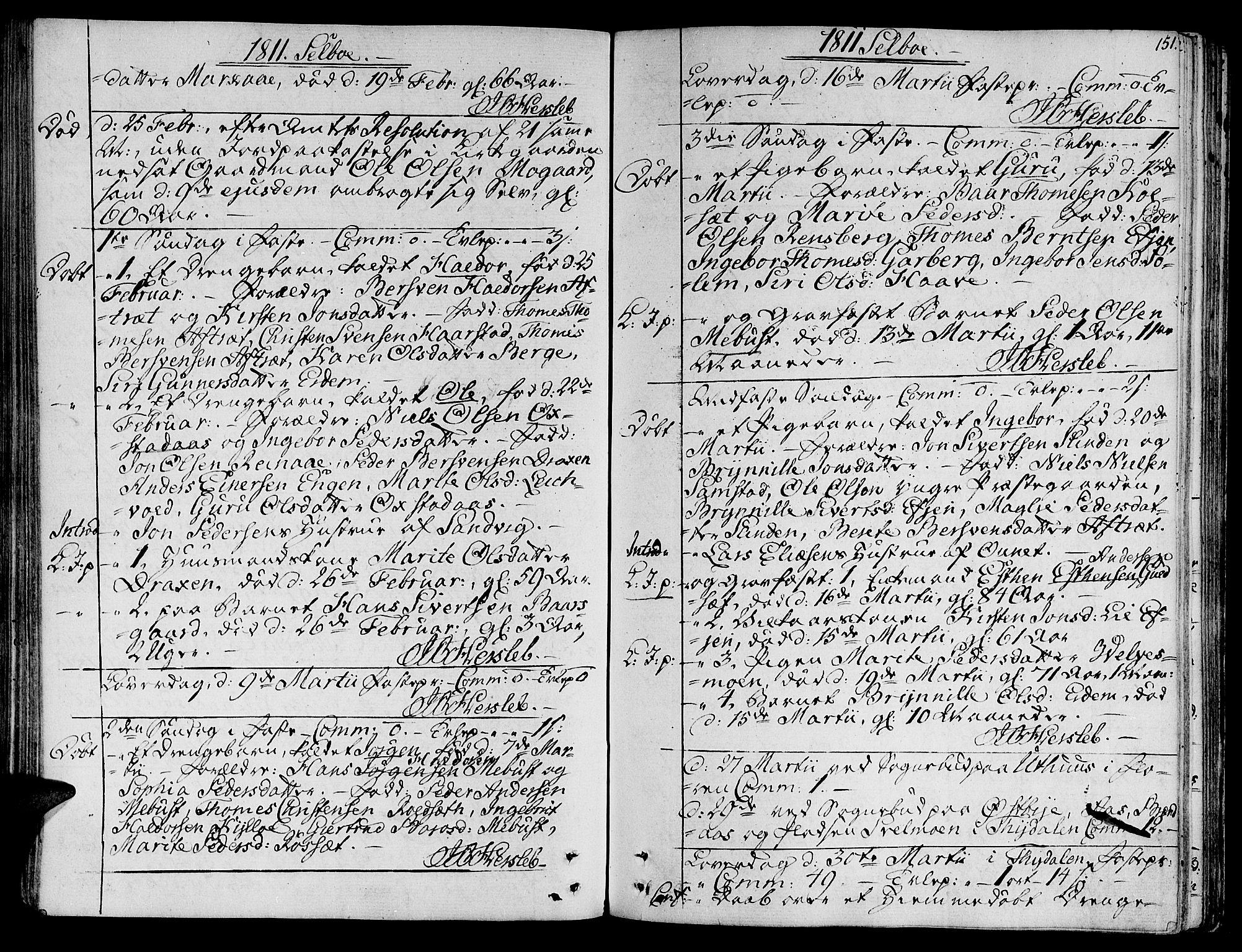 SAT, Ministerialprotokoller, klokkerbøker og fødselsregistre - Sør-Trøndelag, 695/L1140: Ministerialbok nr. 695A03, 1801-1815, s. 151