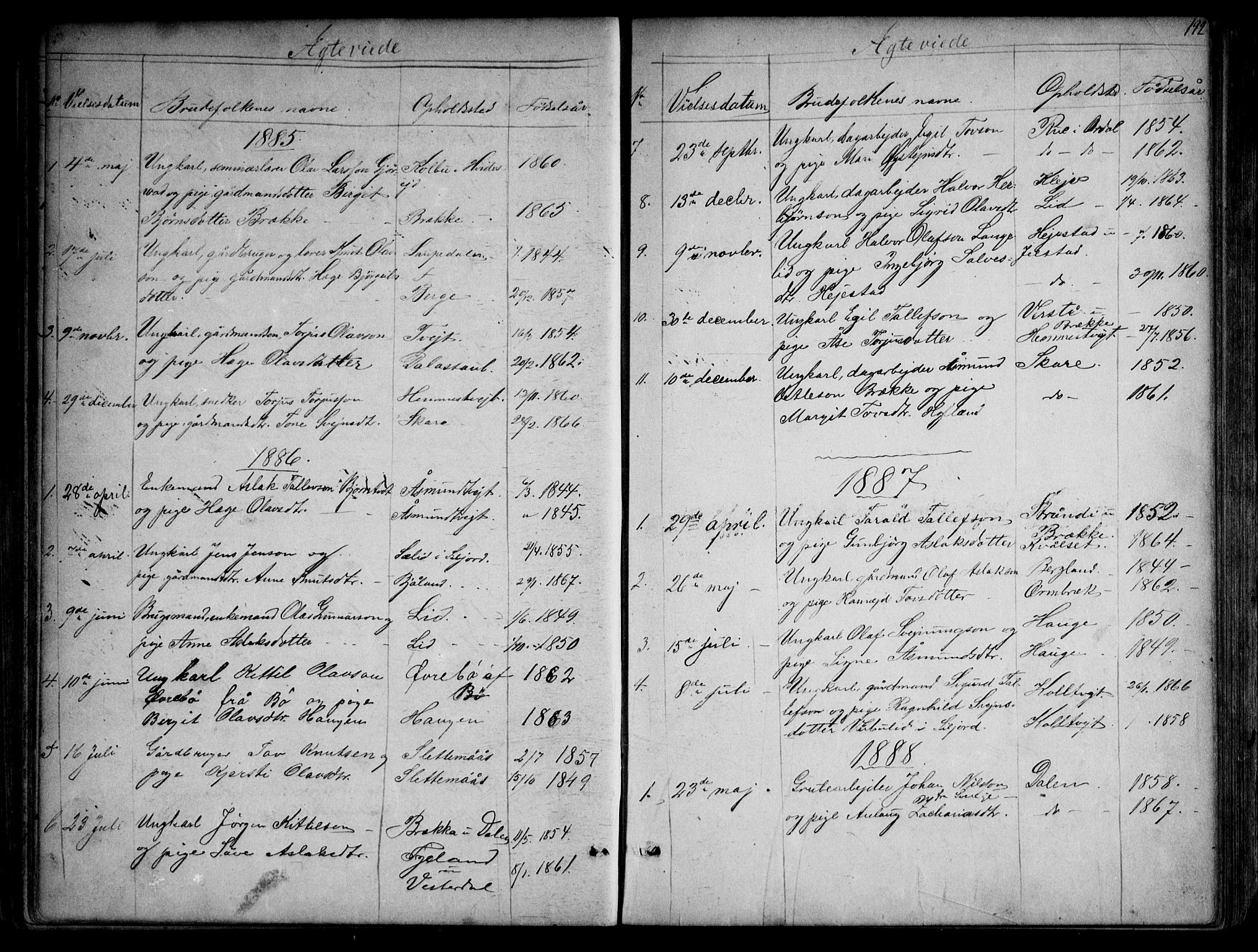 SAKO, Kviteseid kirkebøker, G/Gb/L0002: Klokkerbok nr. II 2, 1850-1892, s. 192