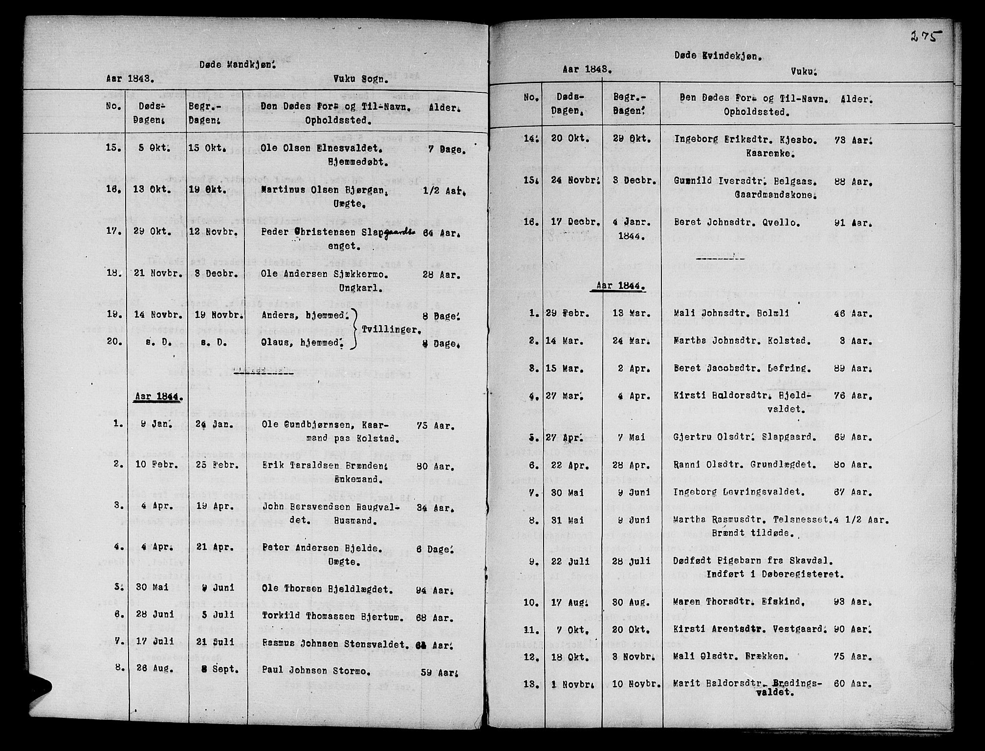 SAT, Ministerialprotokoller, klokkerbøker og fødselsregistre - Nord-Trøndelag, 724/L0265: Klokkerbok nr. 724C01, 1816-1845, s. 275