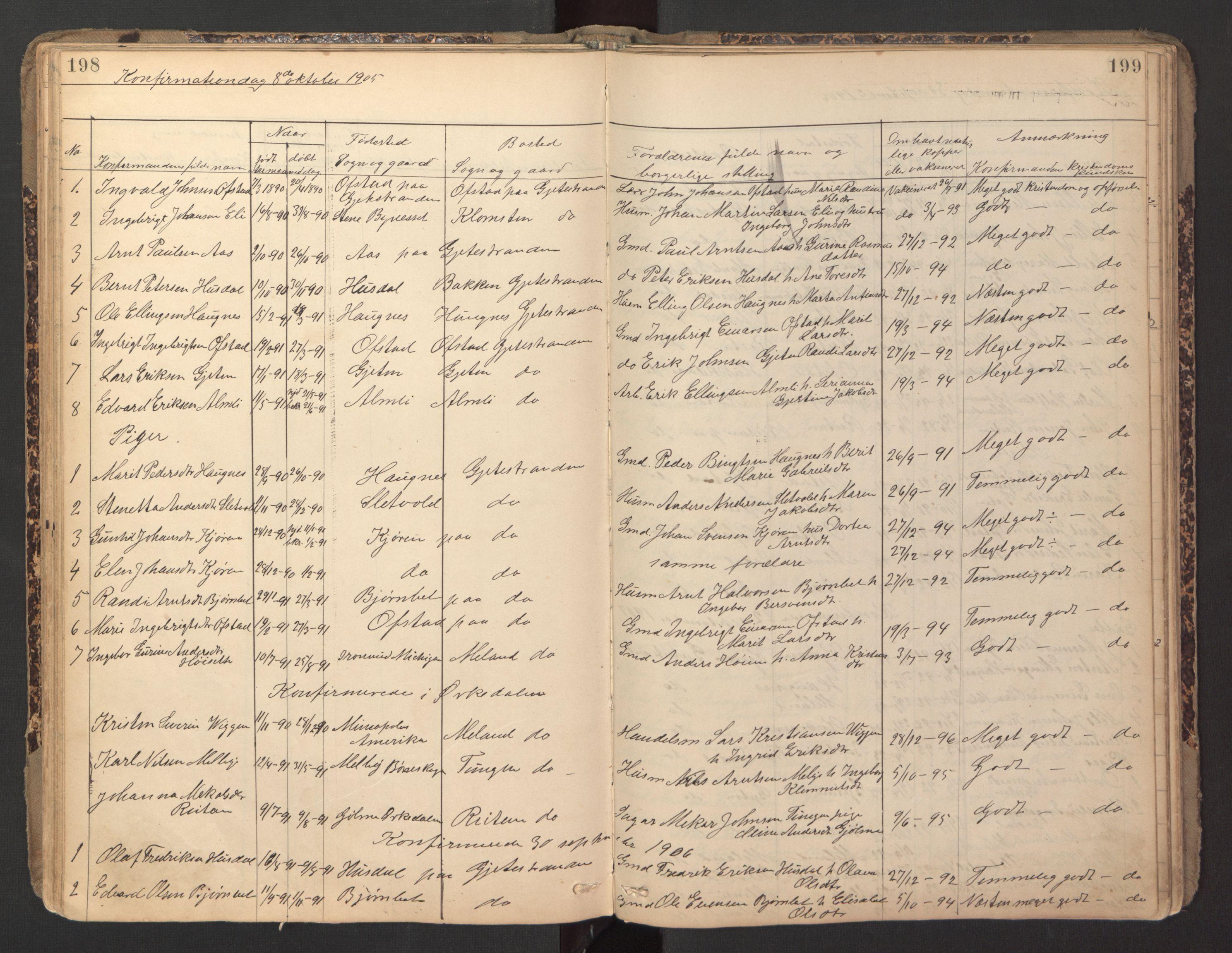 SAT, Ministerialprotokoller, klokkerbøker og fødselsregistre - Sør-Trøndelag, 670/L0837: Klokkerbok nr. 670C01, 1905-1946, s. 198-199