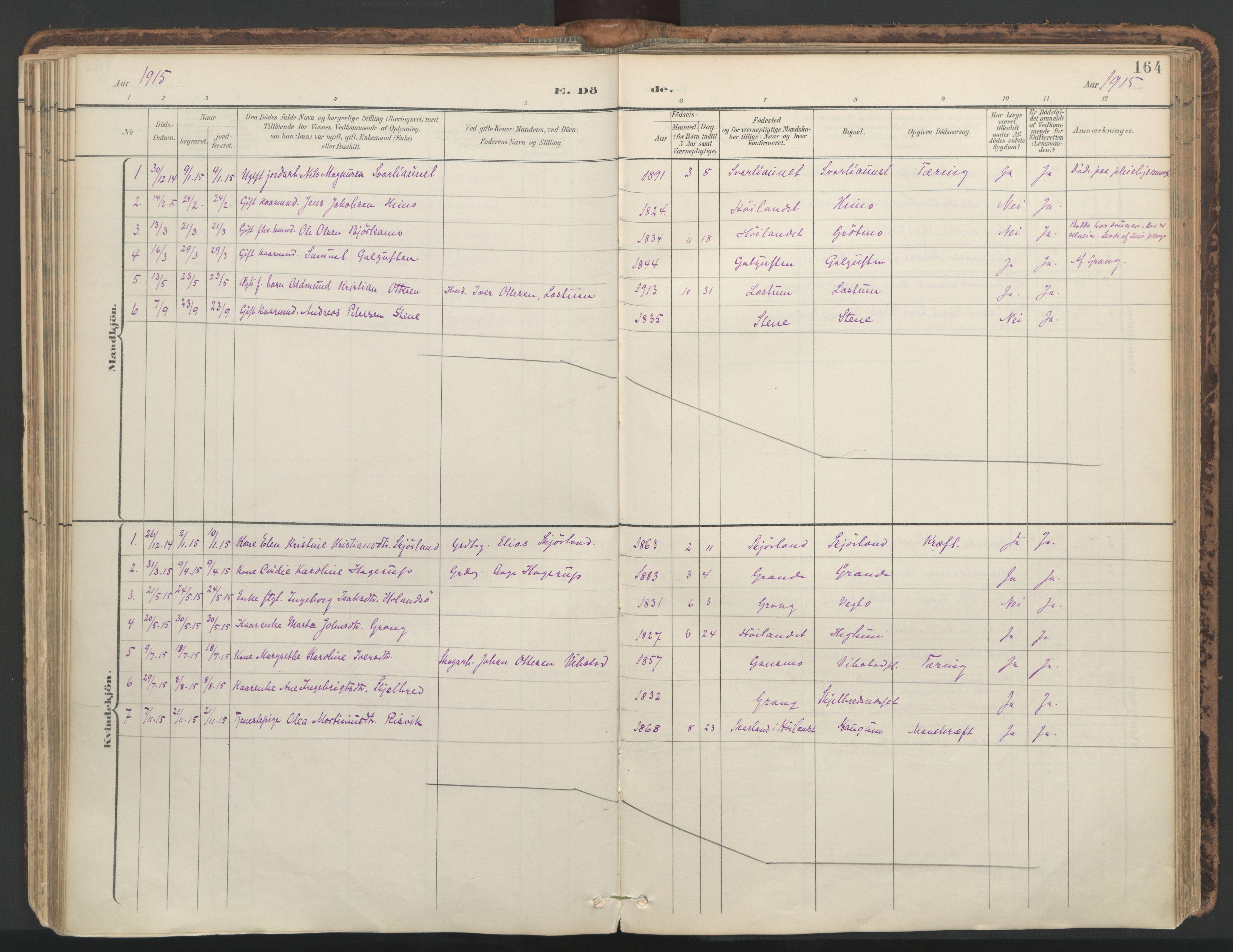 SAT, Ministerialprotokoller, klokkerbøker og fødselsregistre - Nord-Trøndelag, 764/L0556: Ministerialbok nr. 764A11, 1897-1924, s. 164