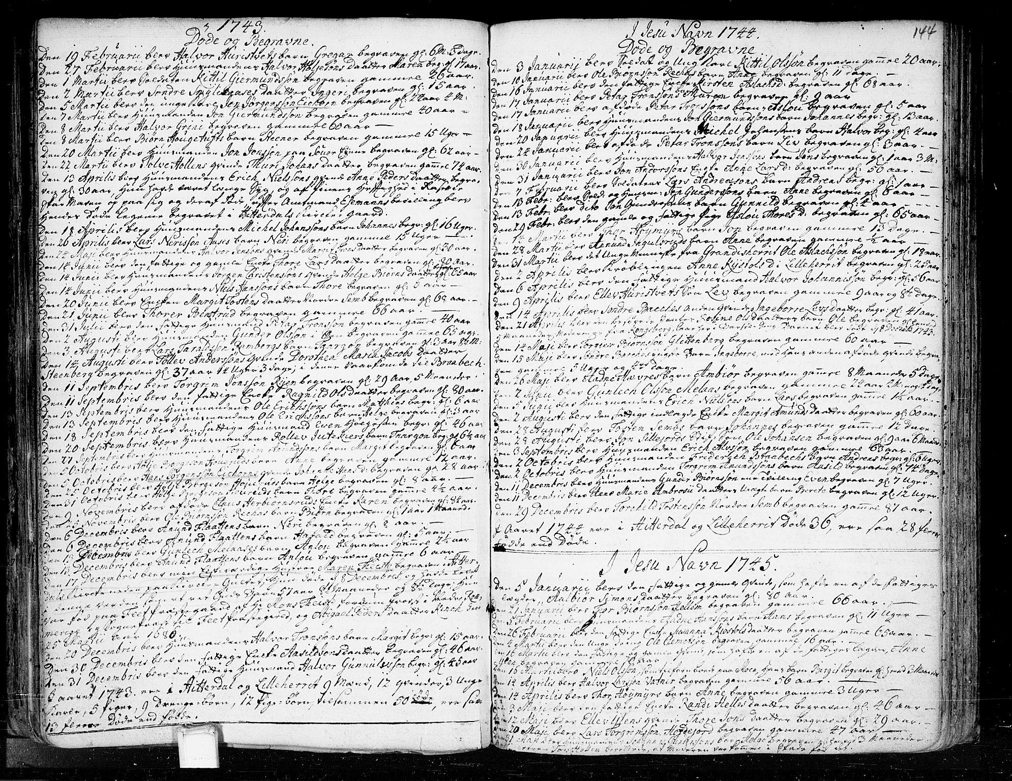 SAKO, Heddal kirkebøker, F/Fa/L0003: Ministerialbok nr. I 3, 1723-1783, s. 144