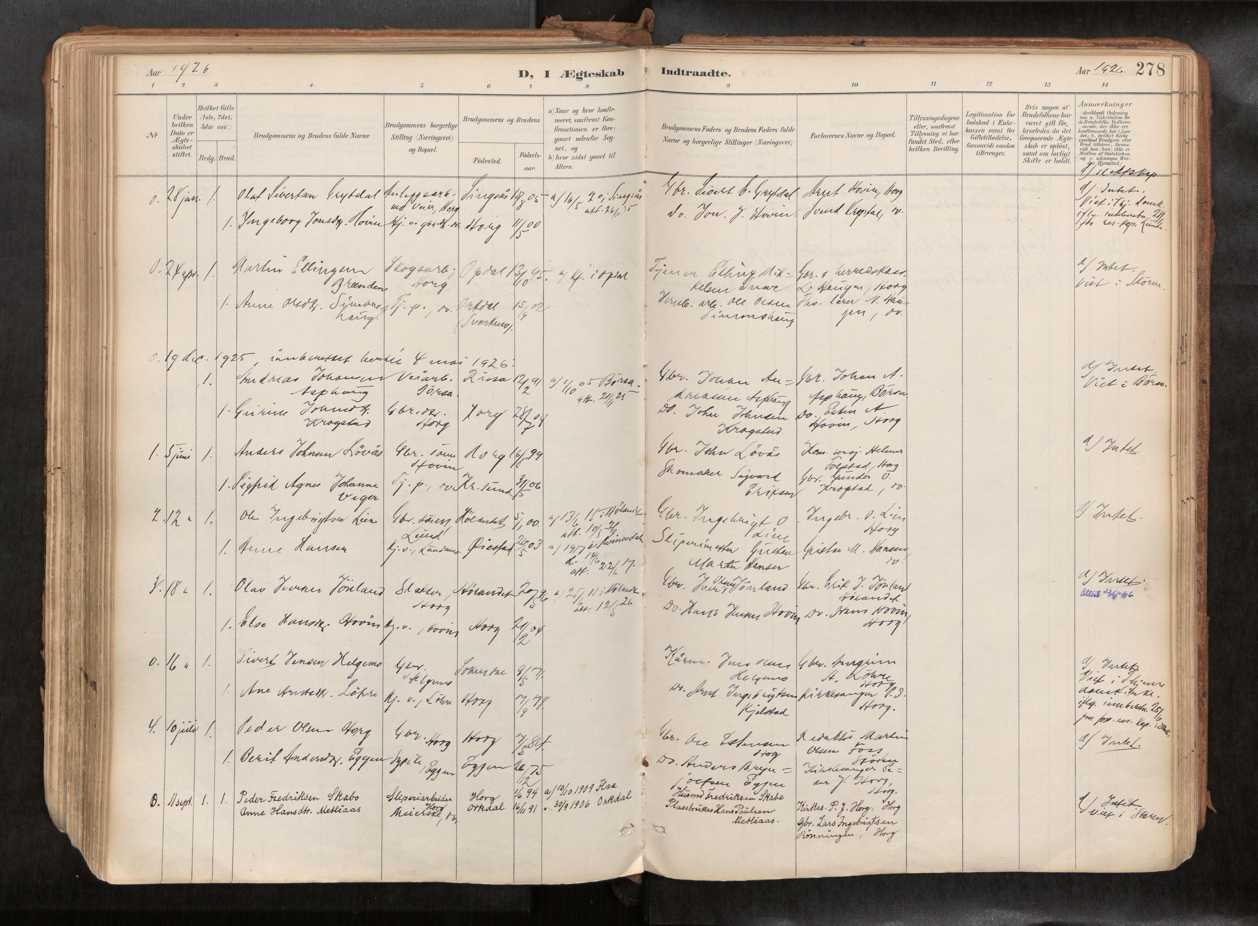 SAT, Ministerialprotokoller, klokkerbøker og fødselsregistre - Sør-Trøndelag, 692/L1105b: Ministerialbok nr. 692A06, 1891-1934, s. 278
