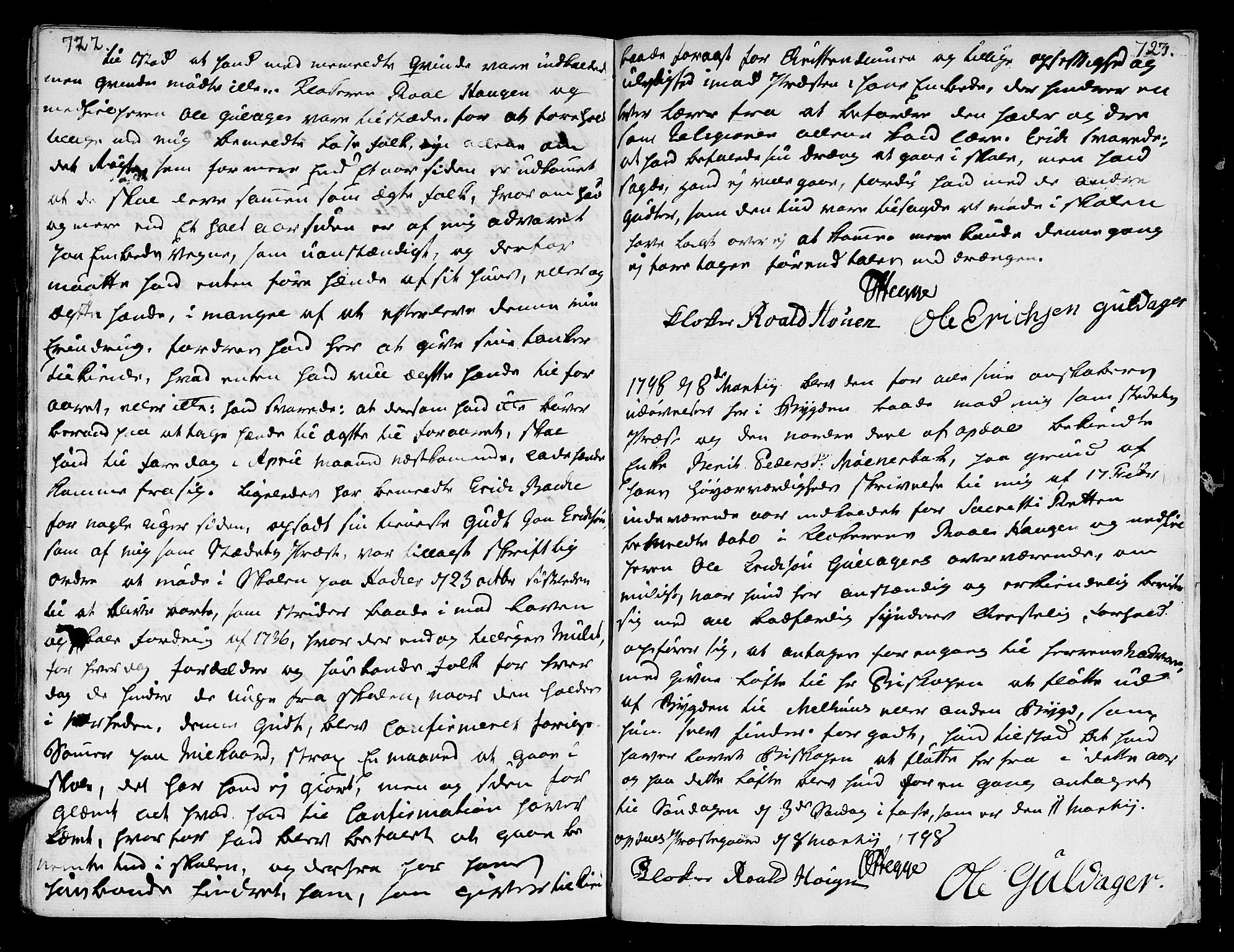 SAT, Ministerialprotokoller, klokkerbøker og fødselsregistre - Sør-Trøndelag, 678/L0893: Ministerialbok nr. 678A03, 1792-1805, s. 722-723