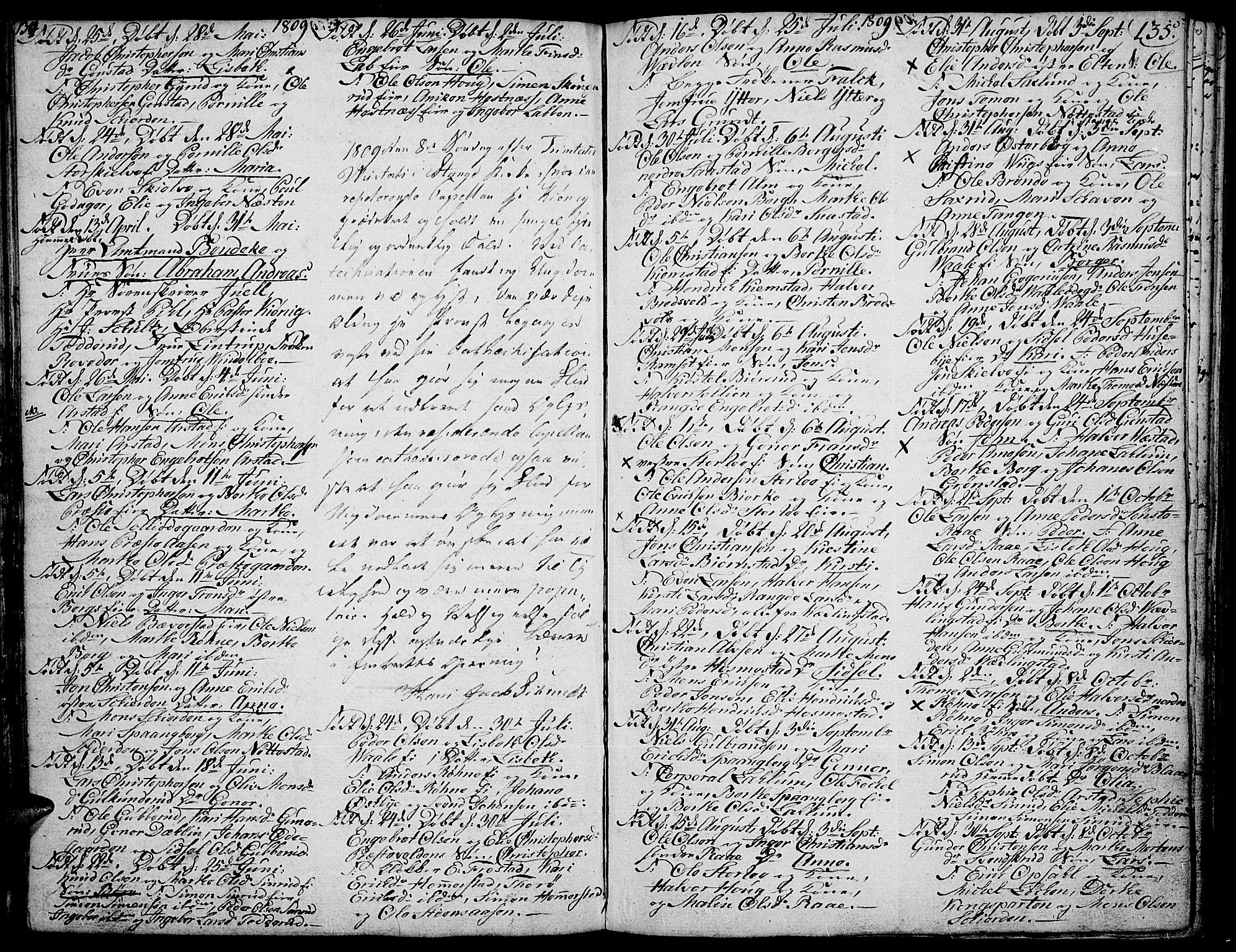 SAH, Stange prestekontor, K/L0007: Ministerialbok nr. 7, 1788-1813, s. 134-135